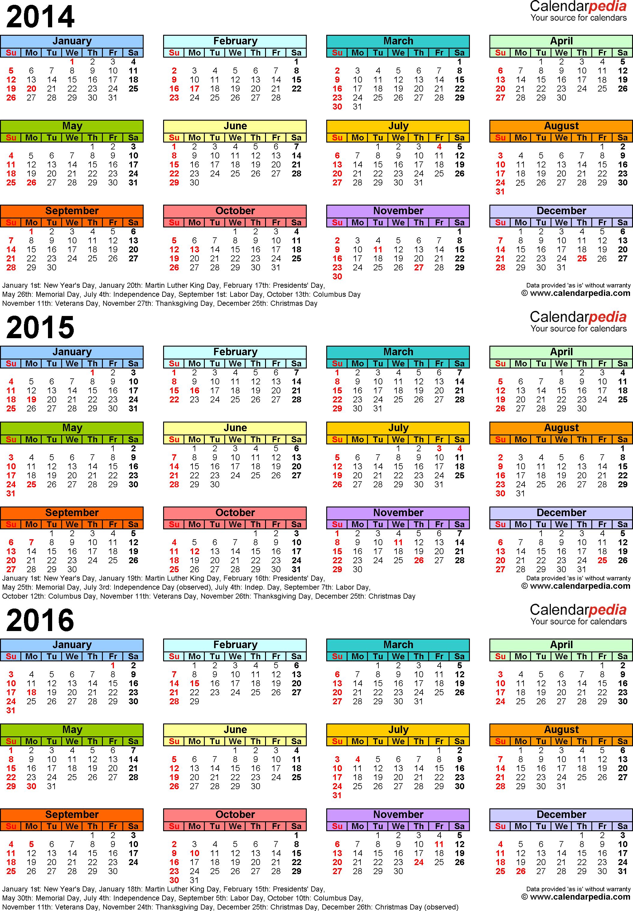 20142016 Three Year Calendar  Free Printable Pdf Templates pertaining to Khmer Calendar 2016