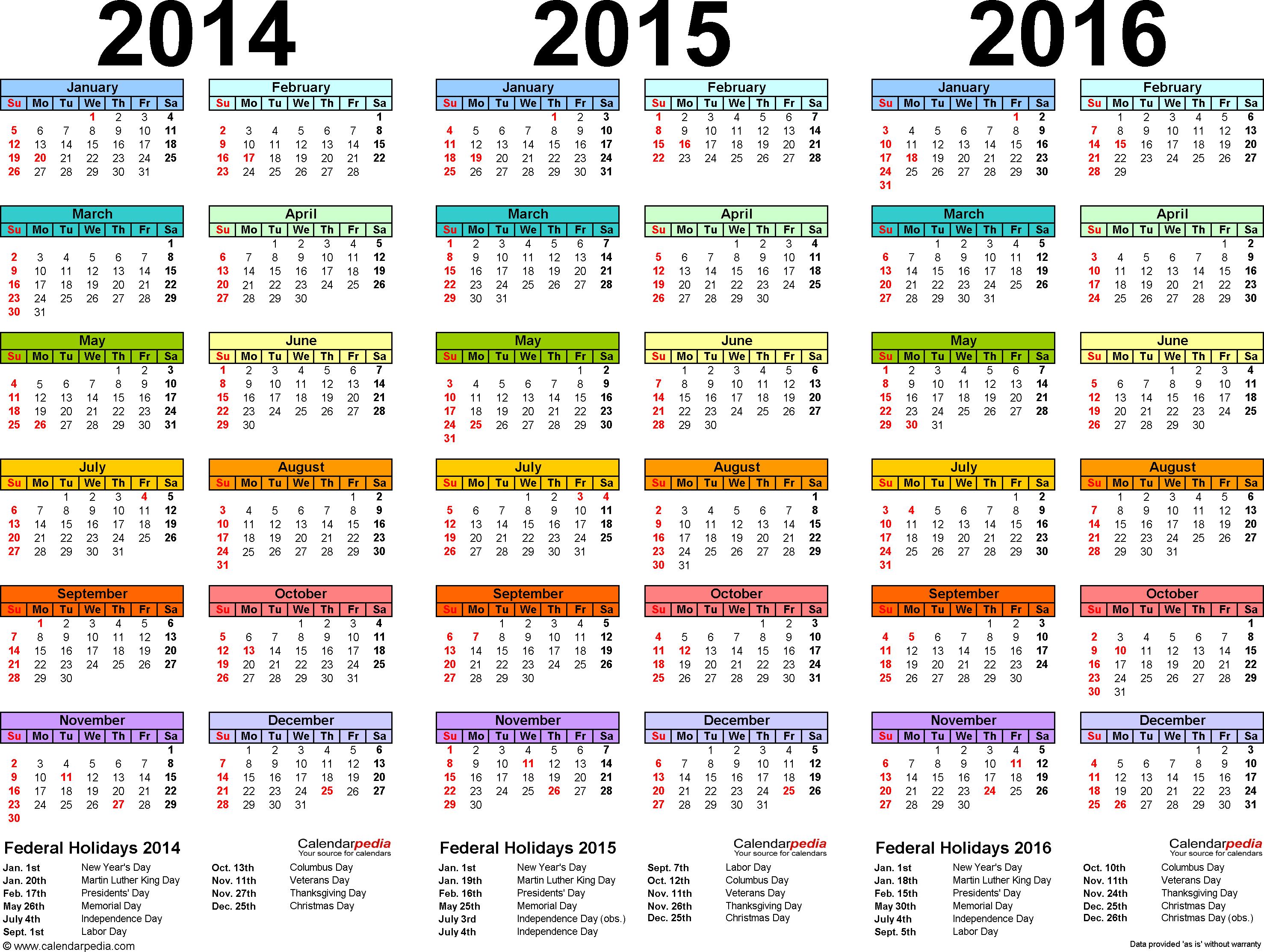 20142016 Three Year Calendar  Free Printable Pdf Templates with Khmer Calendar 2016