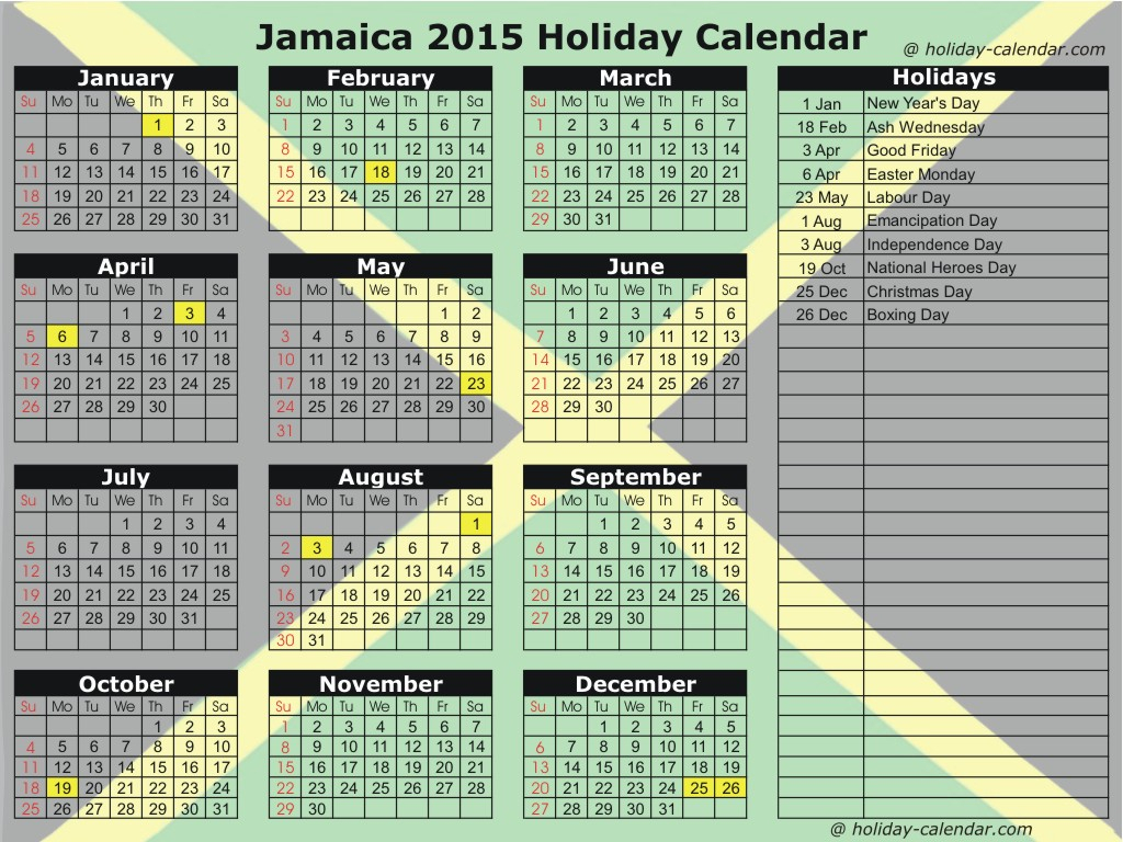 2015 Calendar With Holidays For The Caribbean | Mallige regarding Gaston County School Calendar