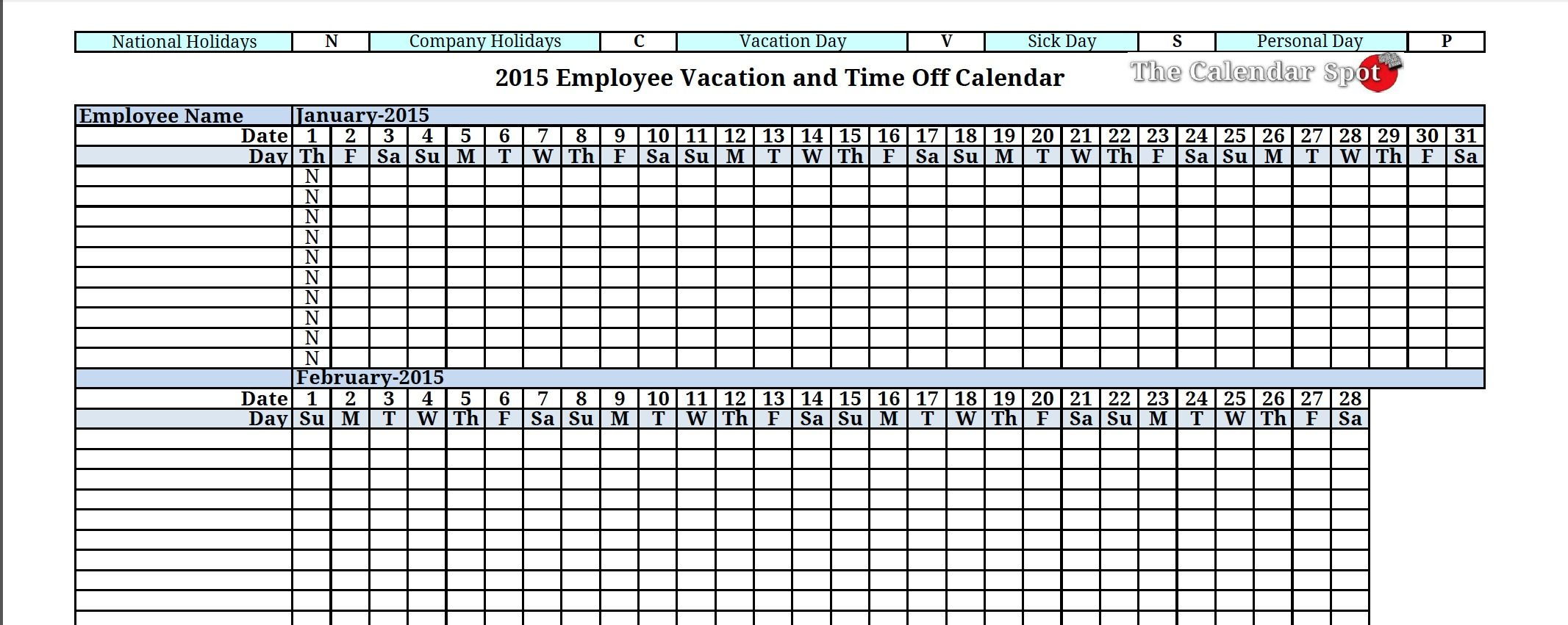 2015 Employee Vacation Absence Tracking Calendar | Vacation throughout Employee Vacation Calendar Template