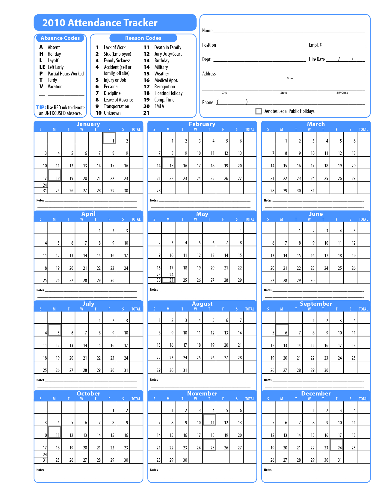 2015 Free Attendance Calendars Printable Employee Attendance within Employee Vacation Calendar Template