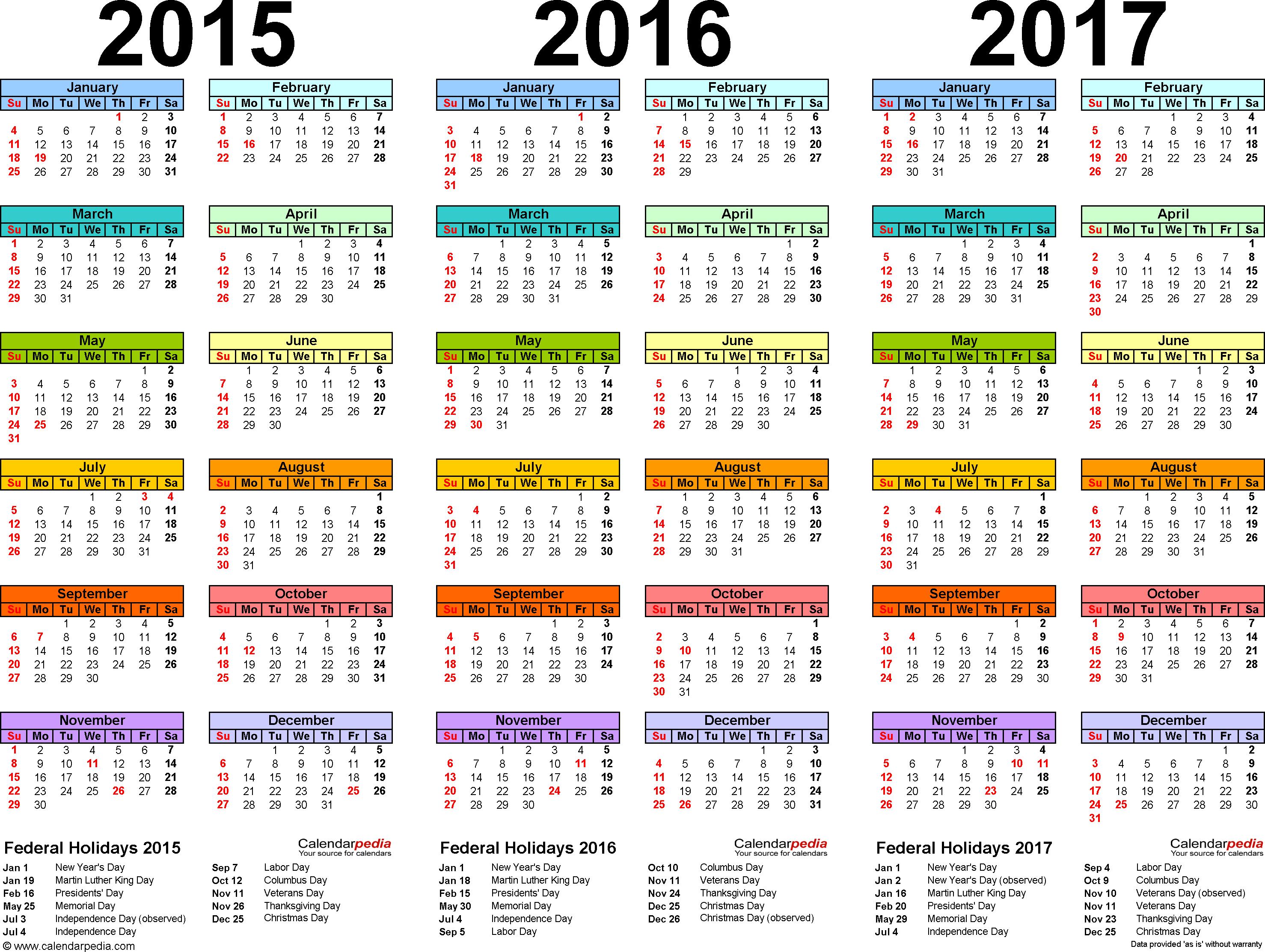 20152017 Three Year Calendar  Free Printable Pdf Templates pertaining to Bangla Calendar 2015