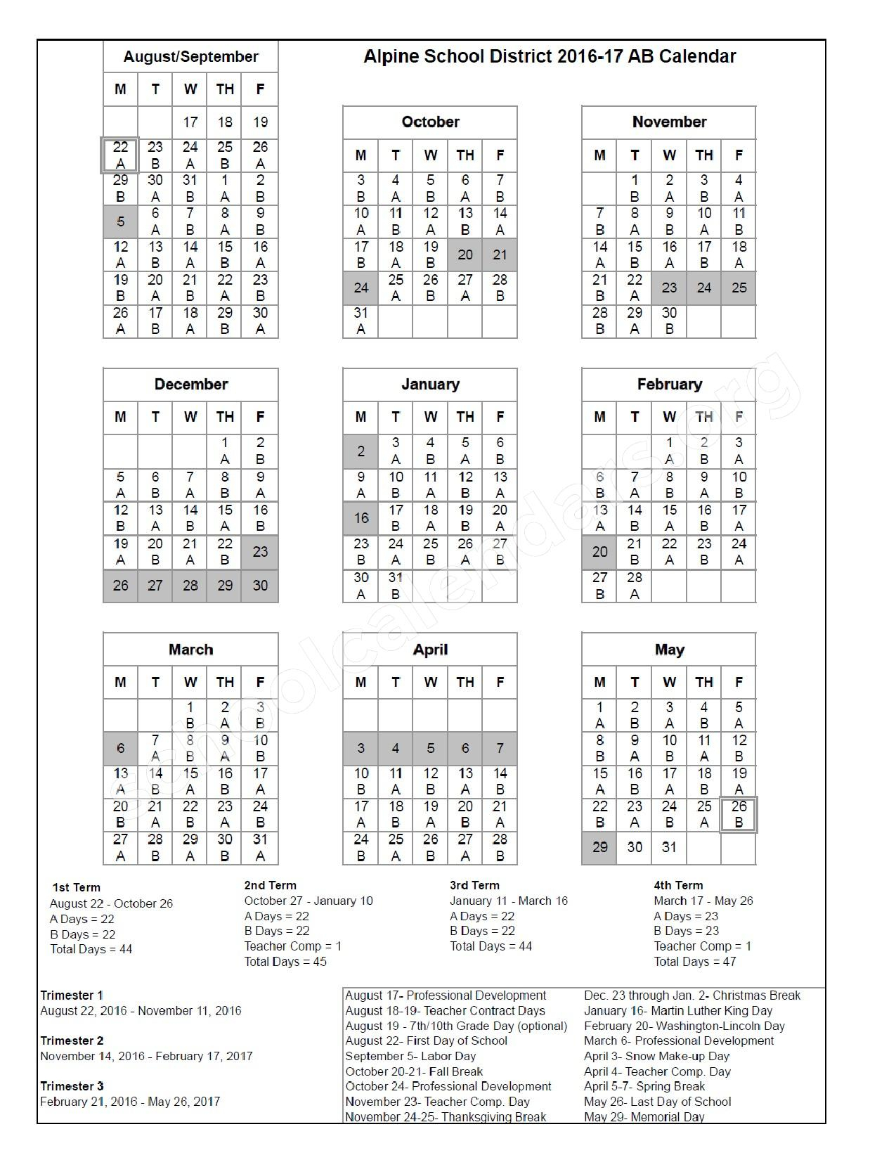 2016  2017 District Ab Calendar | Alpine School District regarding Alpine School District Calendar 2017