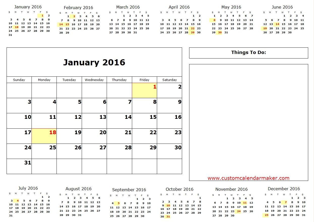 2016 Annual Calendar With Holidays Listed Printable Template for July 2016 Calendar With Holidays