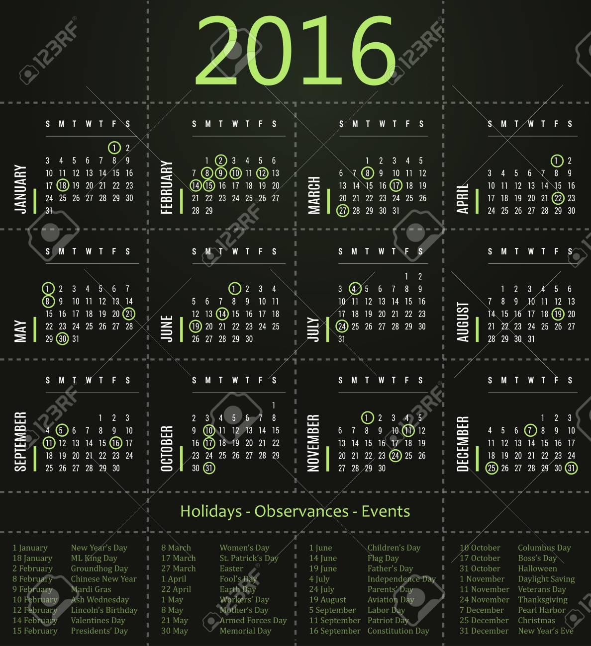 2016 Calendar Template With Holidays, Observances And Events.. in January 16 Holidays & Observances