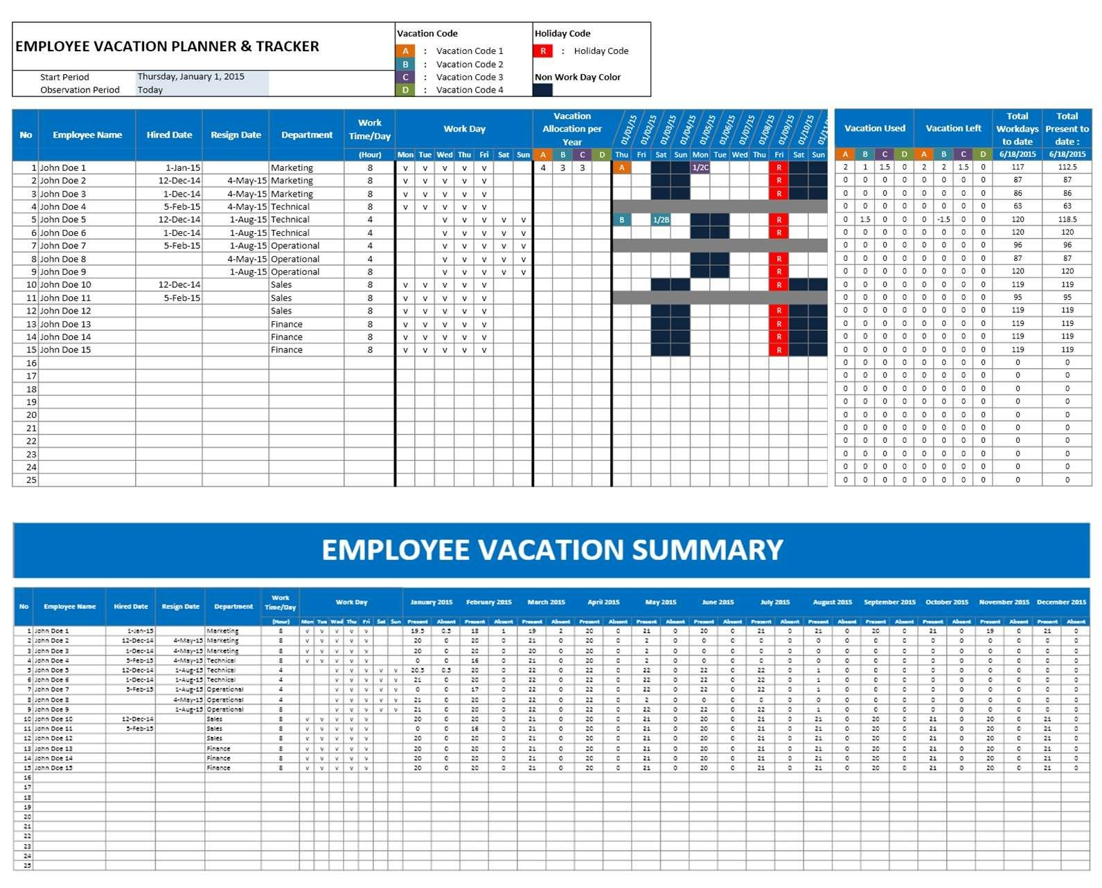2016 Emploee Vacation Time Off Calendar Excel | Excel inside Vacation Calendar Template