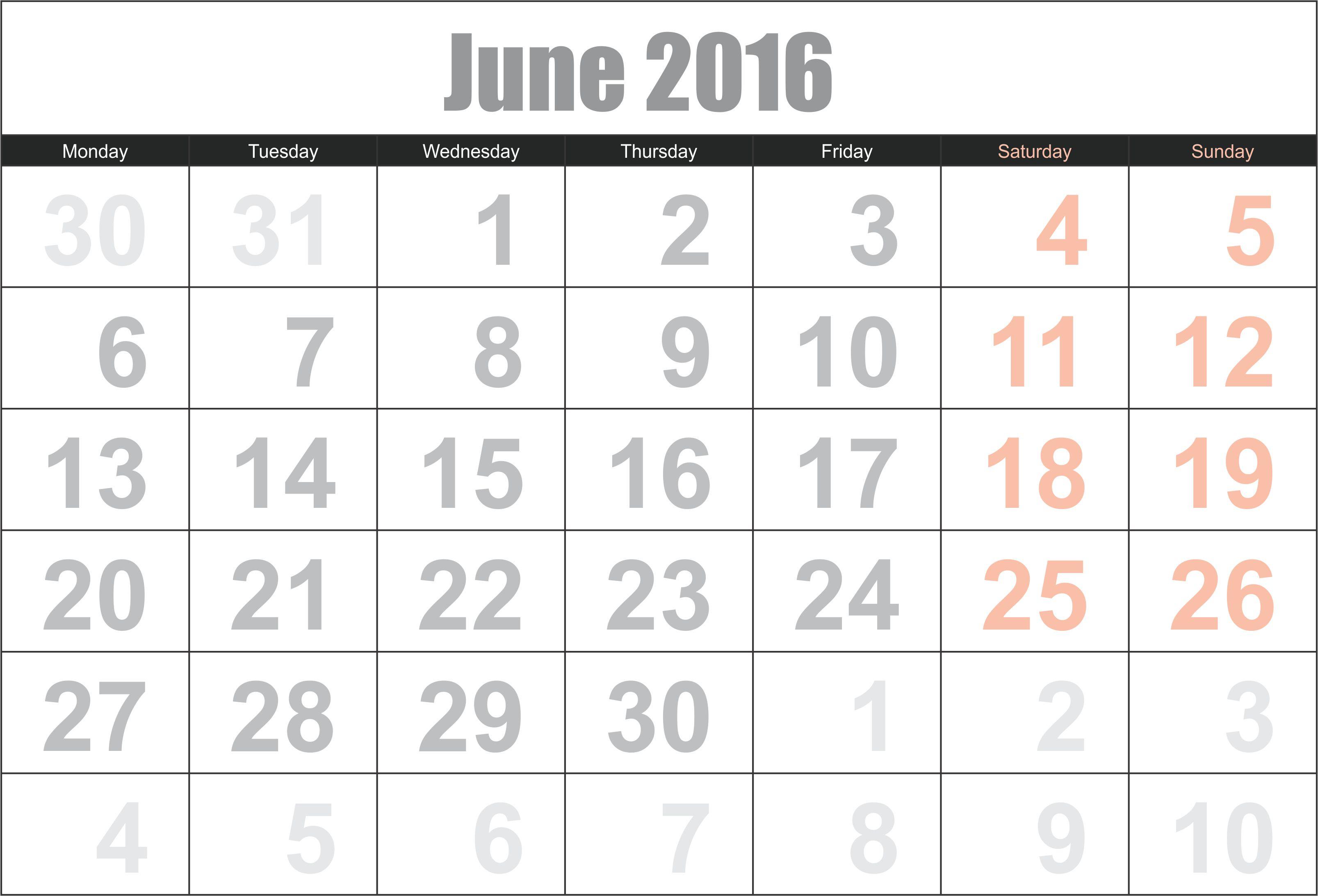 2016 June Calendar  Printable Calendar Template 2020 2021 regarding June 2016 Calendar Printable
