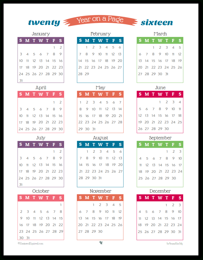 2016 Year On Page Printable Calendars Are Here! | Monthly regarding Year Long Calendar Printable
