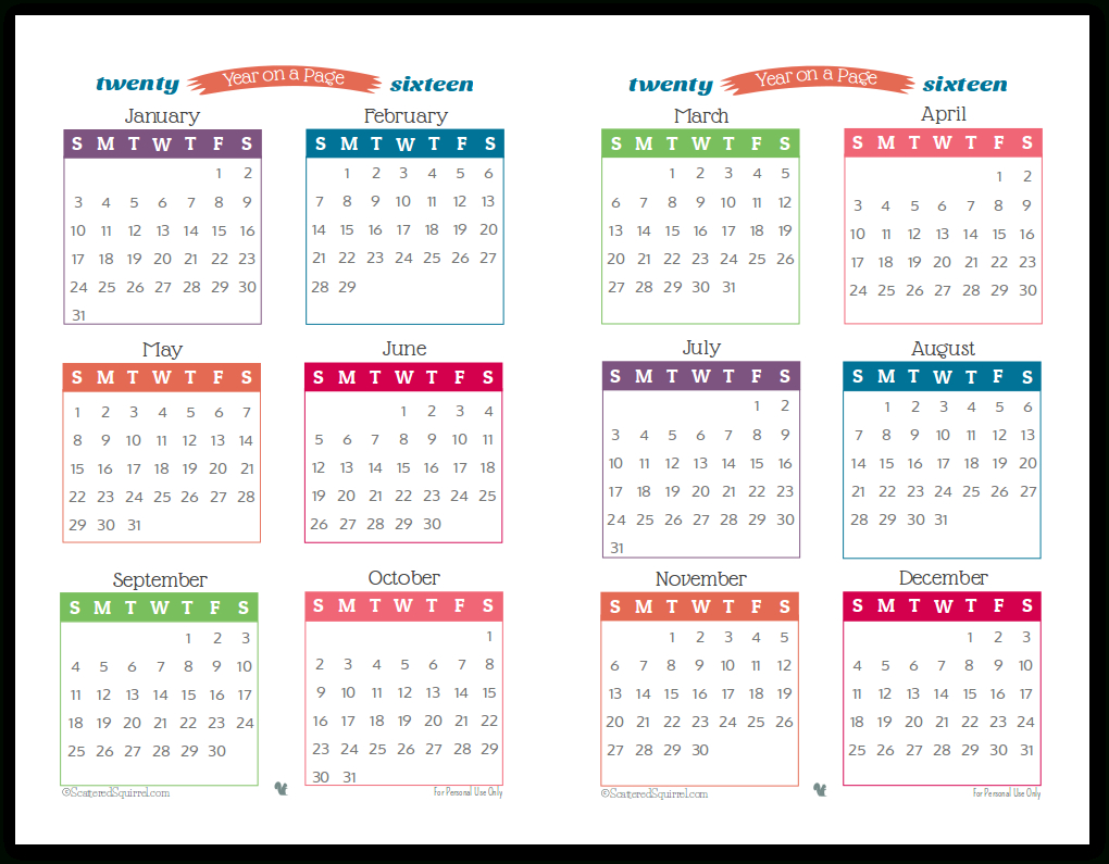 2016 Year On Page Printable Calendars Are Here! | Printable throughout Year Long Calendar Template