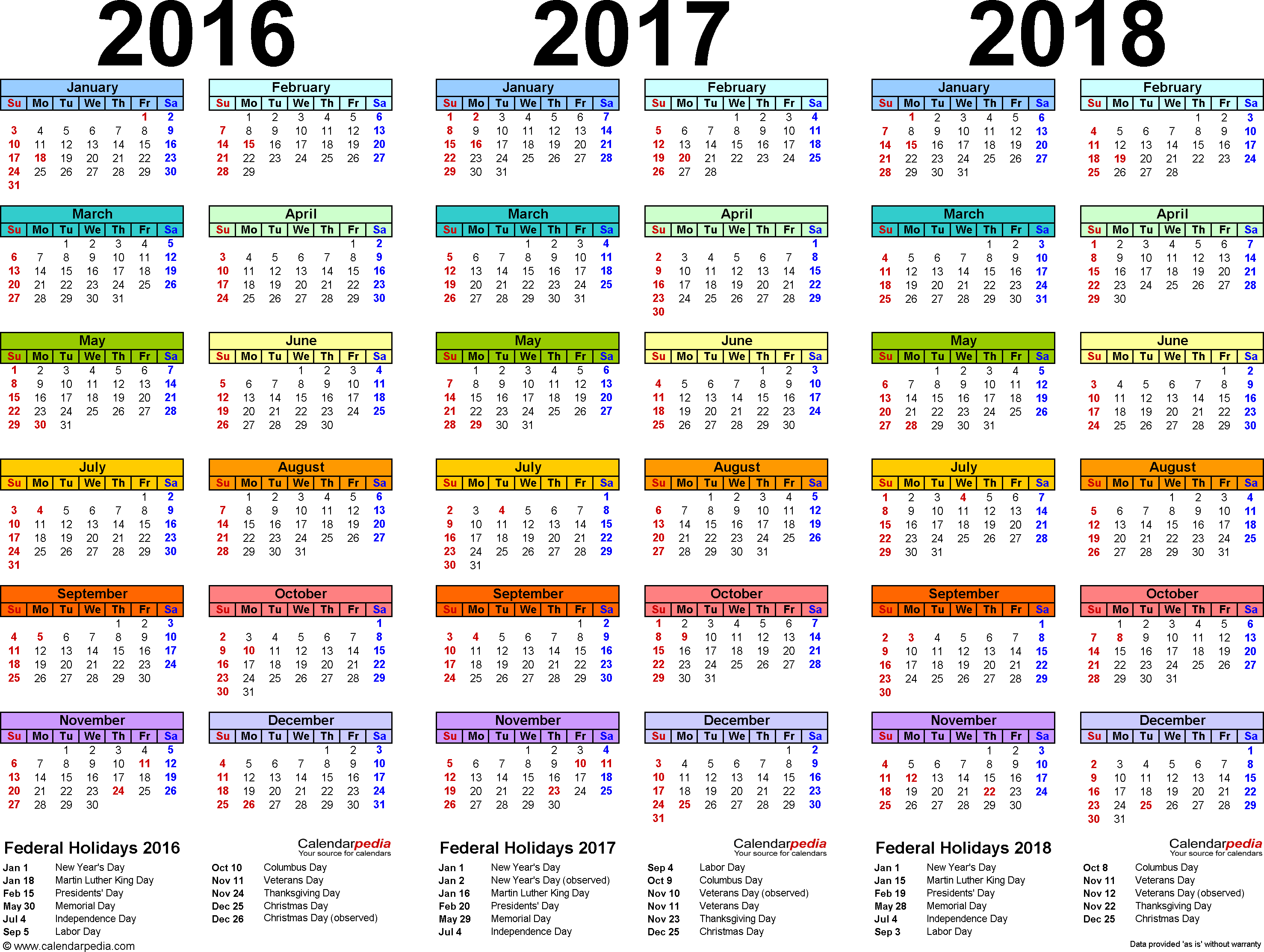 20162018 Three Year Calendar  Free Printable Excel Templates for 2017 School Calendar South Africa