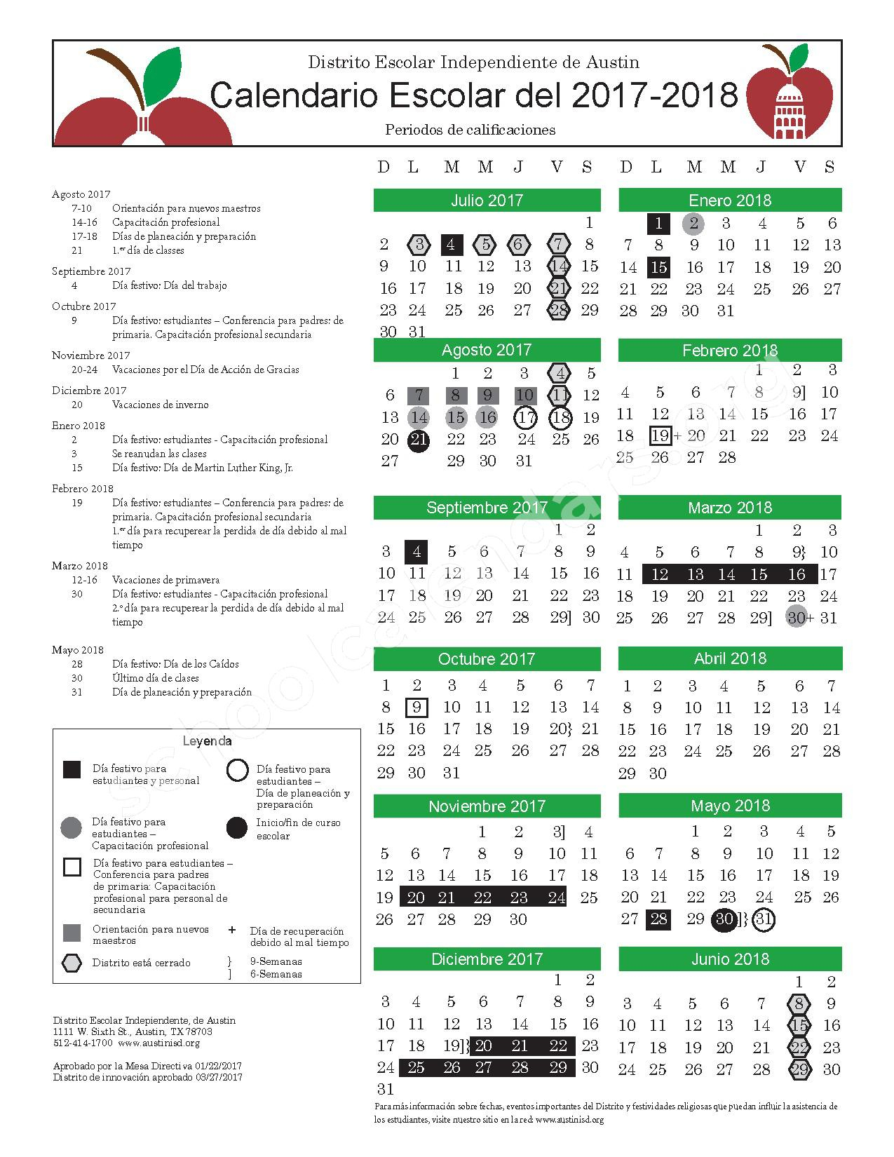 2017  2018 Calendar | Austin Independent School District intended for Alpine School District Calendar 2017