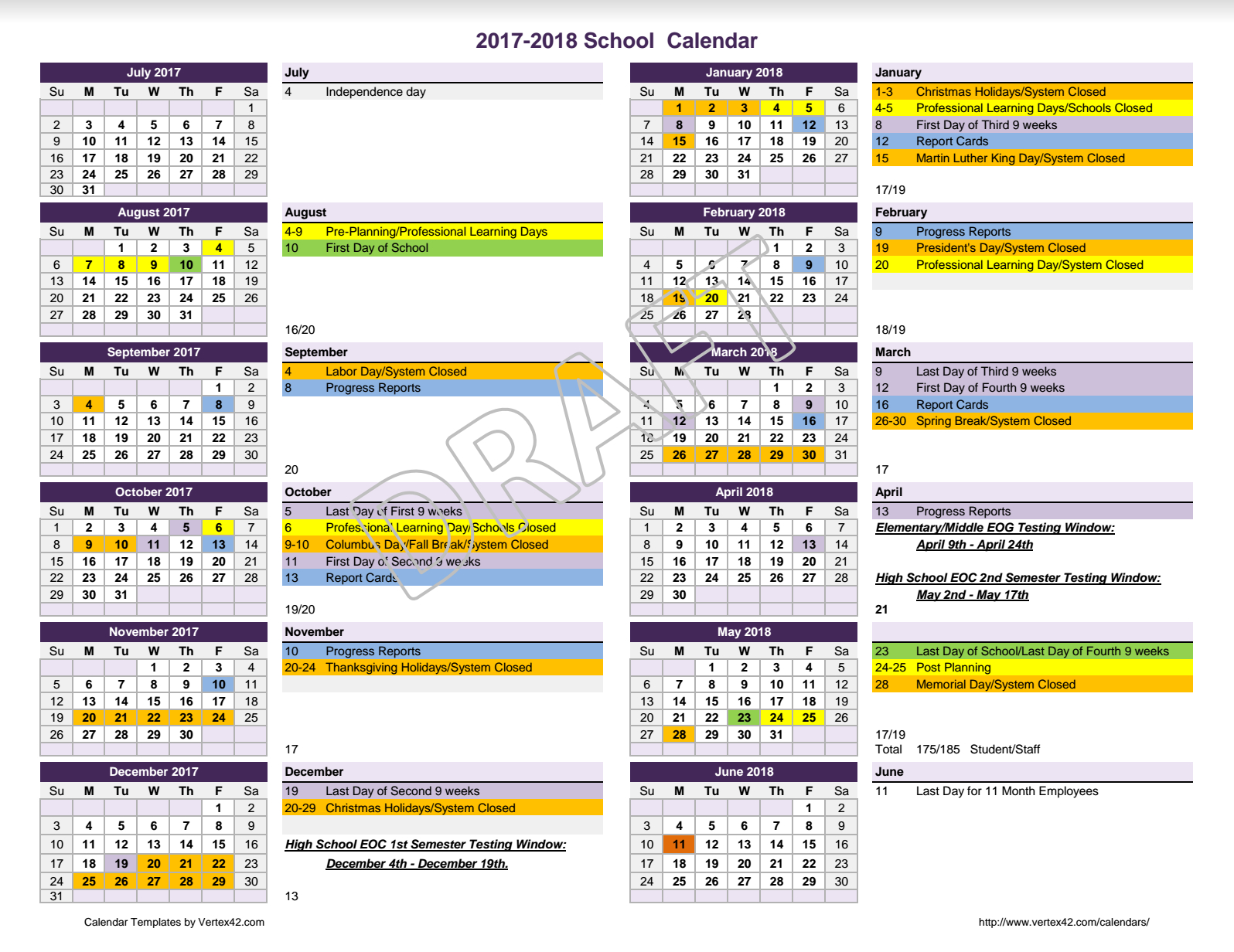 2017 – 2018 Calendar For Review – Meriwether County School intended for Gaston County School Calendar