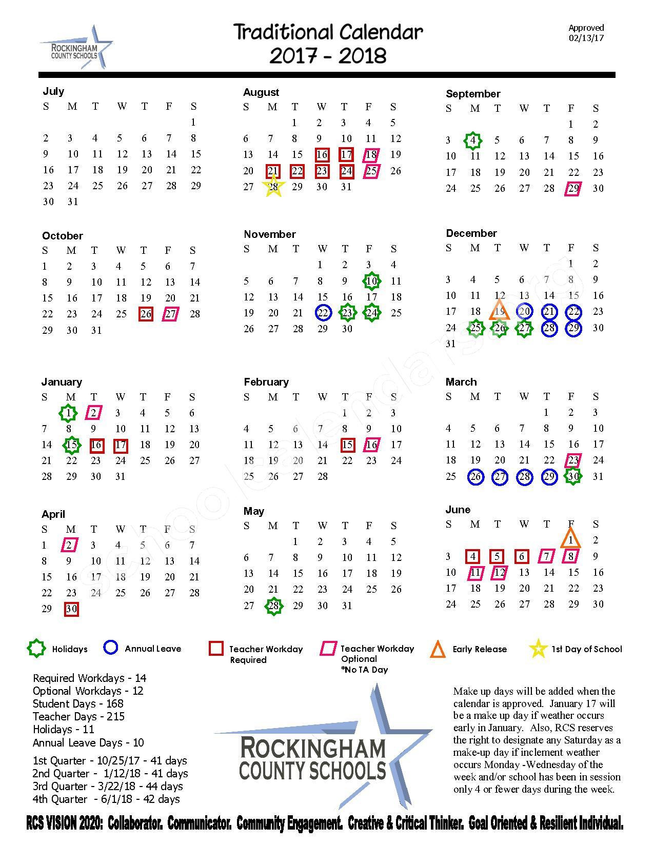 2017  2018 District Calendar | Rockingham County Schools intended for Rockingham County School Calendar