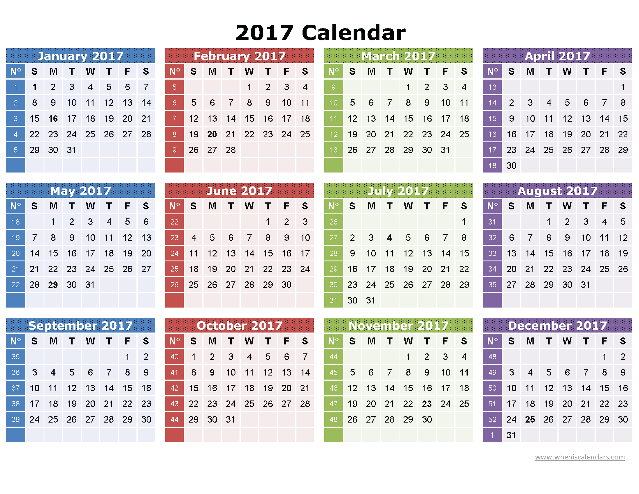 2017 Calendar Printable One Page | Download: Image (Full with Printable 2007 Calendar