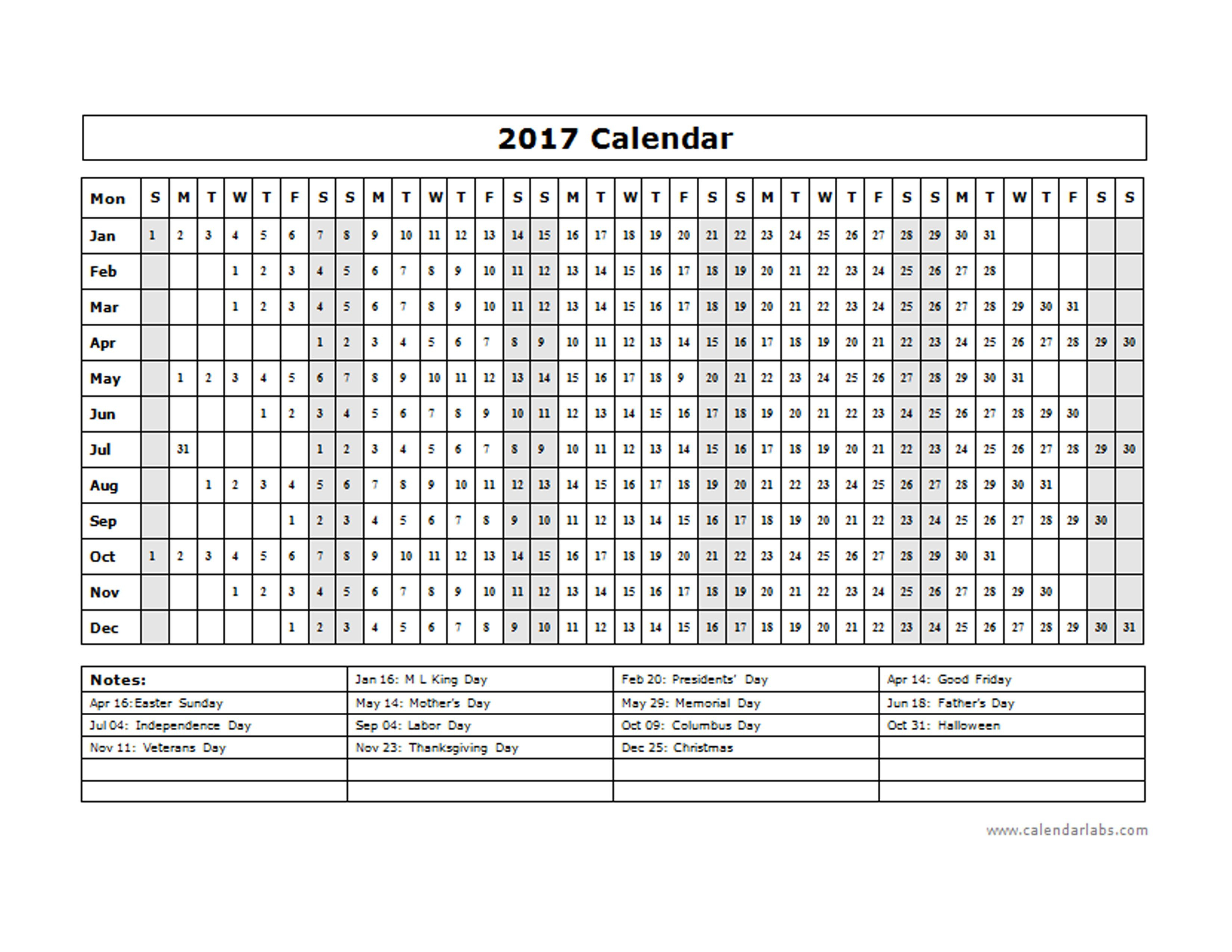 2017 Calendar Template Year At A Glance Free Printable with Year At A Glance Calendar Printable