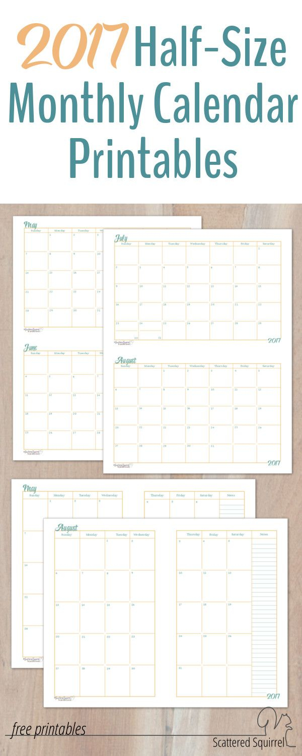 2017 Halfsize Monthly Calendar Printables | Scattered for Scattered Squirrel Calendar