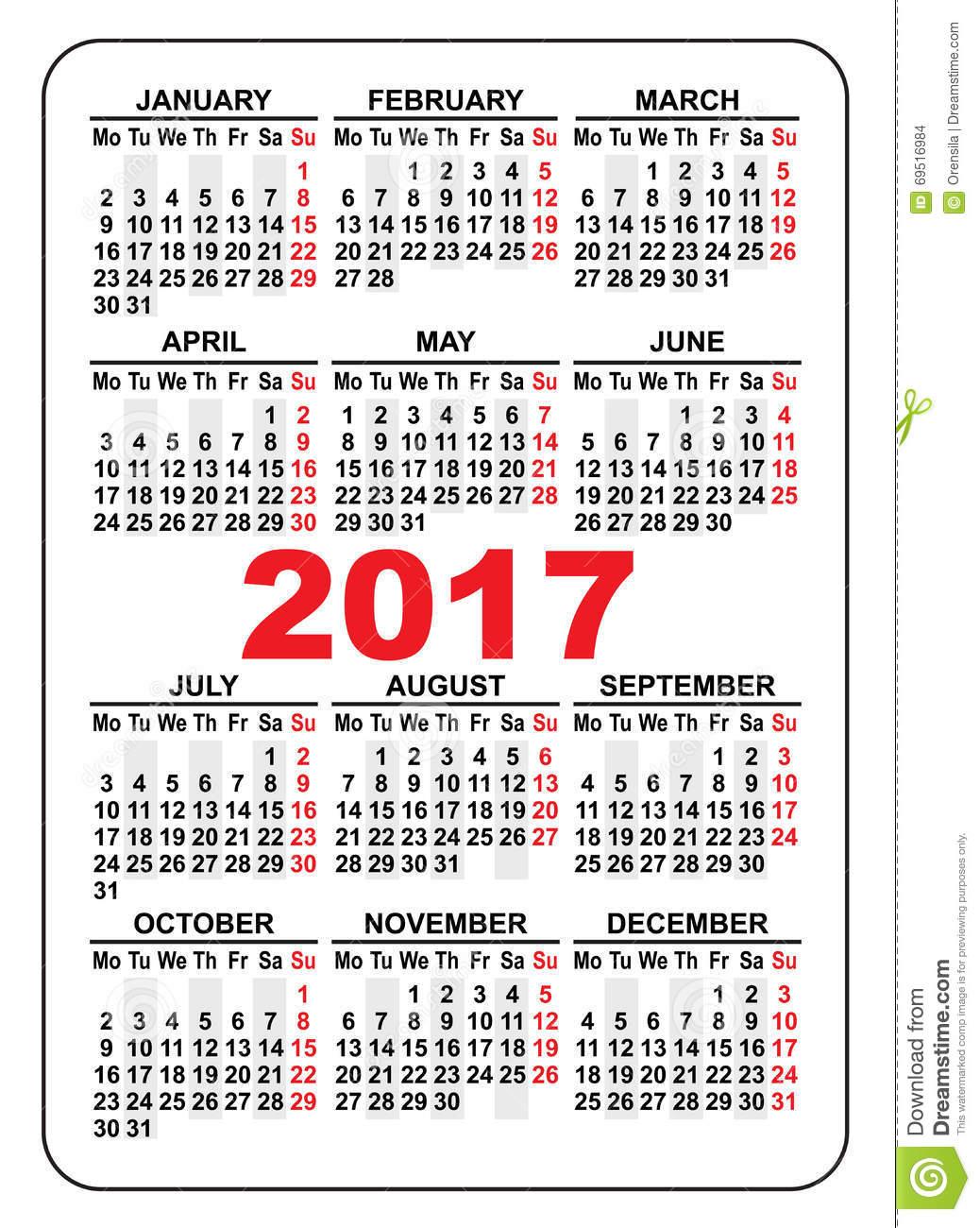 2017 Pocket Calendar | Templates Free Printable for Pocket Size Calendar Printable