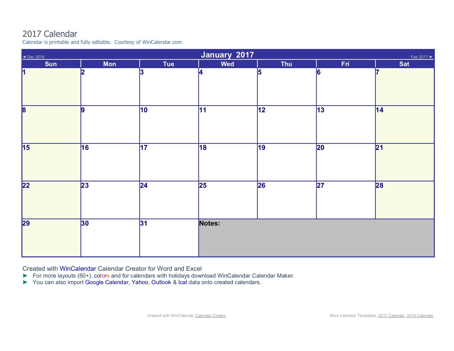 2017 Word Calendar with Word Calendar Creator