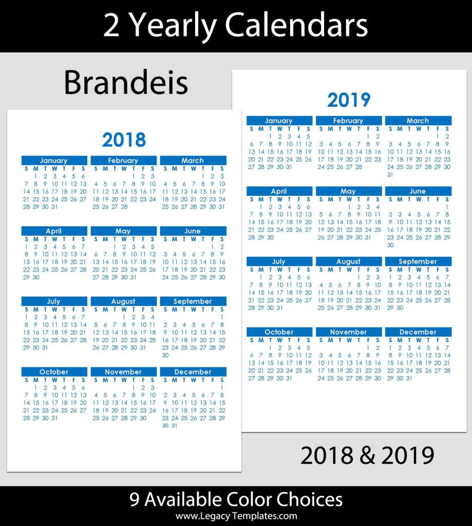 2018 & 2019 Yearly Calendar – 5.5 X 8.5 | Legacy Templates with regard to Printable Calendar 5.5 X 8.5