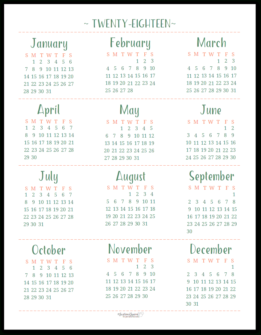 2018 Dated Yearly Calendar Printables Are Here in Scattered Squirrel Calendar