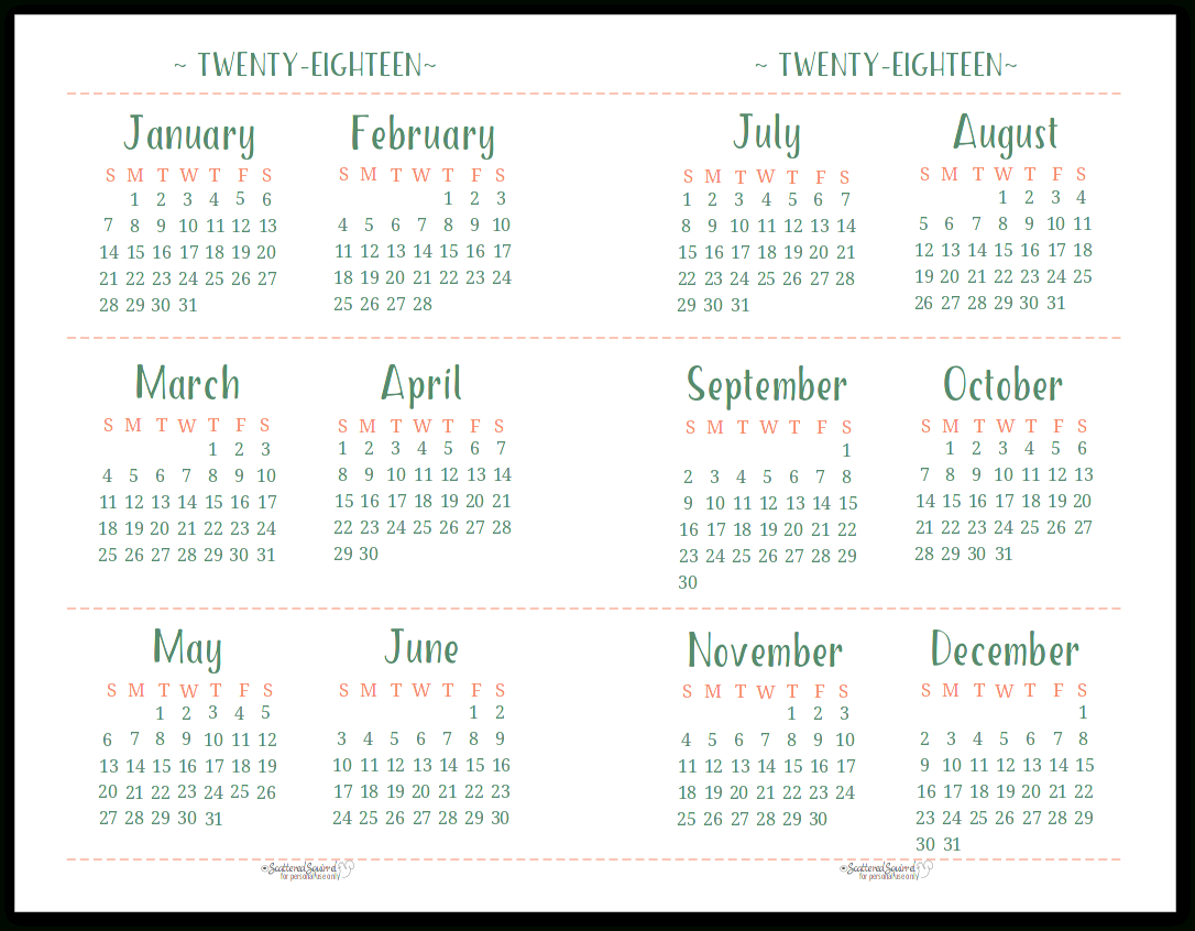 2018 Dated Yearly Calendar Printables Are Here within Scattered Squirrel Calendar