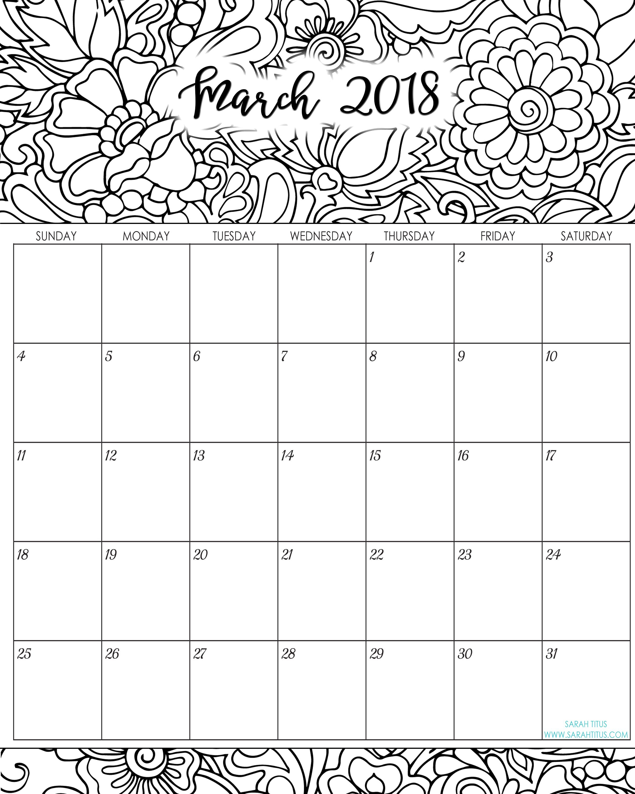2018 Monthly Coloring Calendars Printables | Free Printable inside Sarah Titus Calendar
