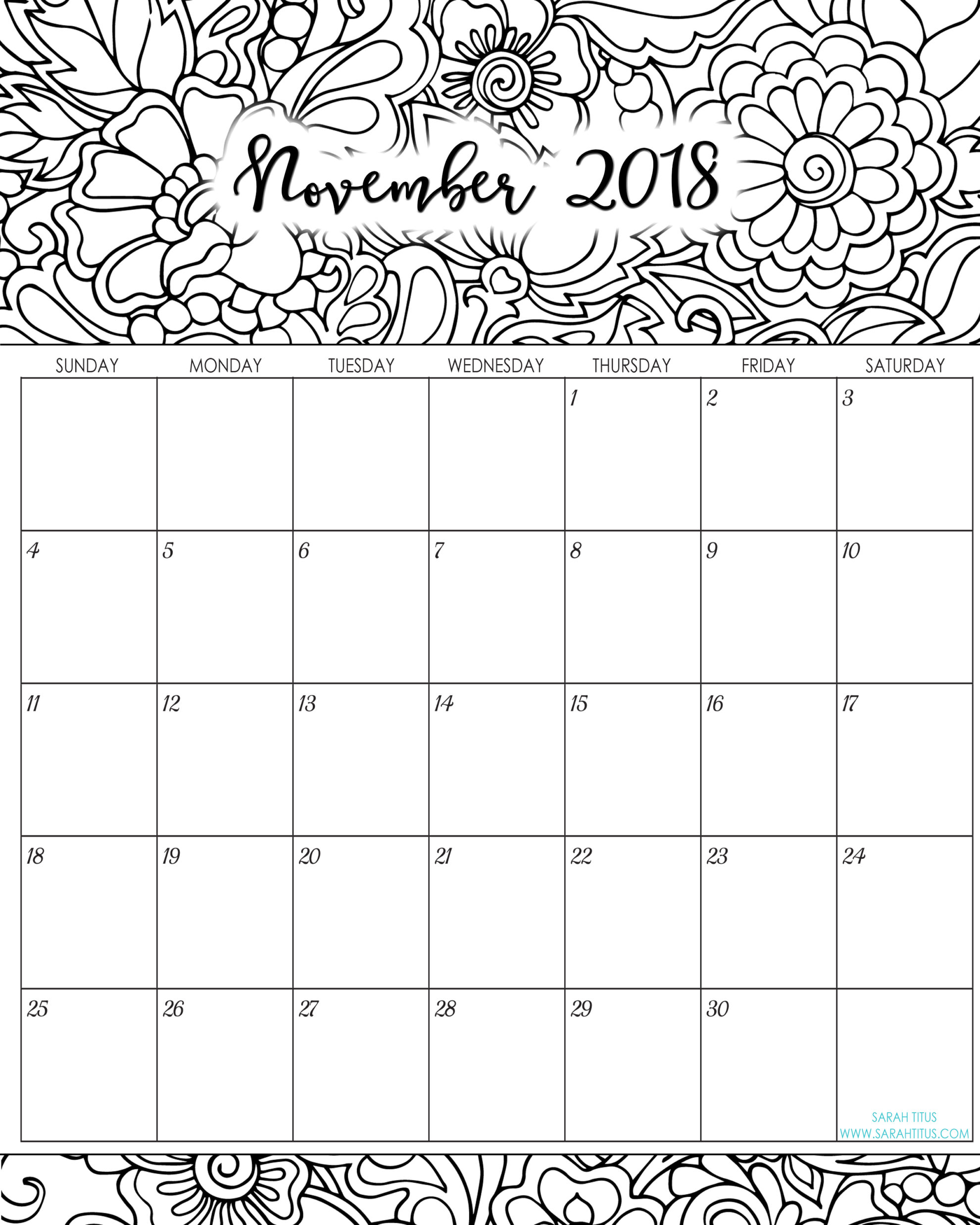 2018 Monthly Coloring Calendars Printables  Sarah Titus pertaining to Sarah Titus Calendar