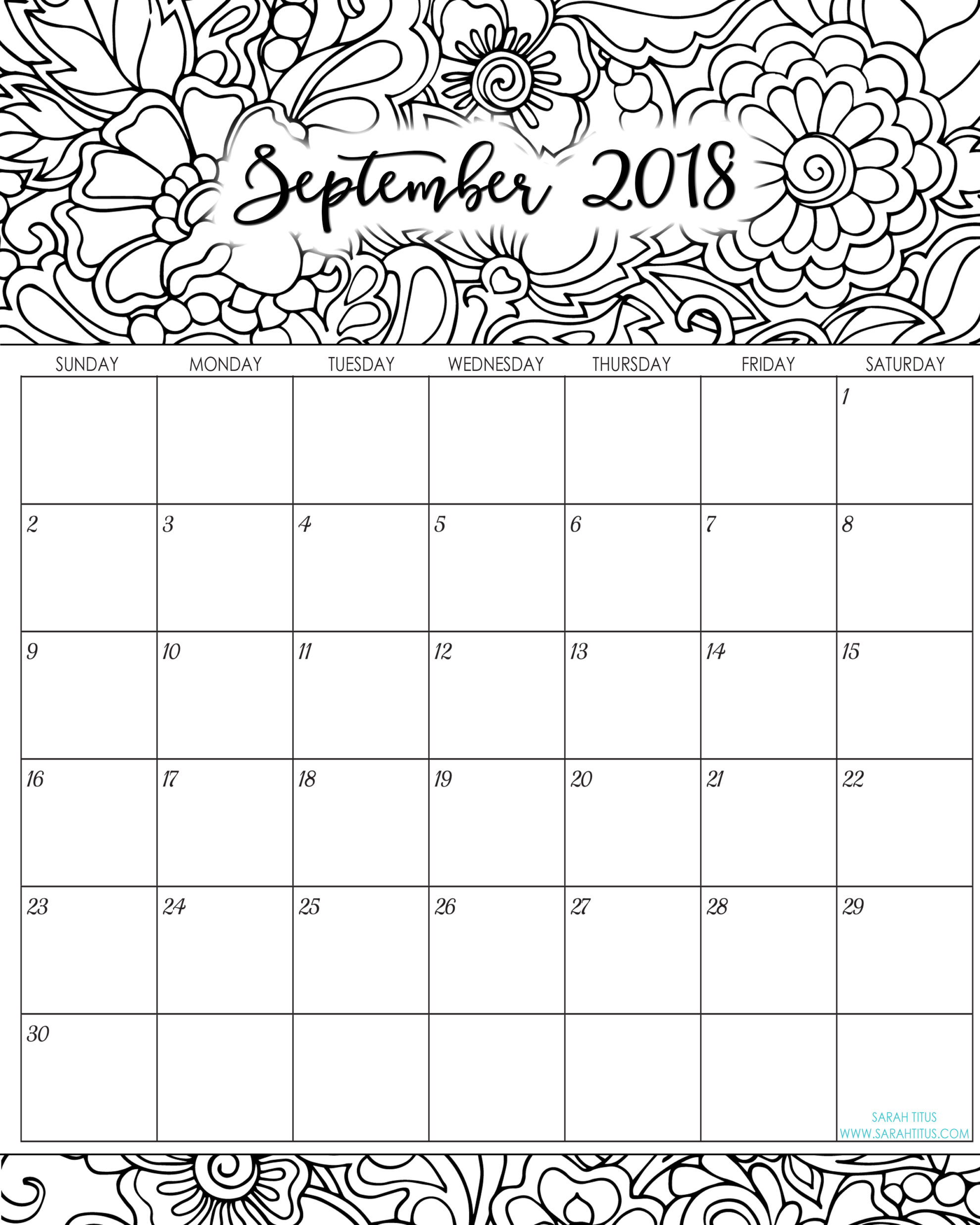 2018 Monthly Coloring Calendars Printables  Sarah Titus regarding Sarah Titus Calendar