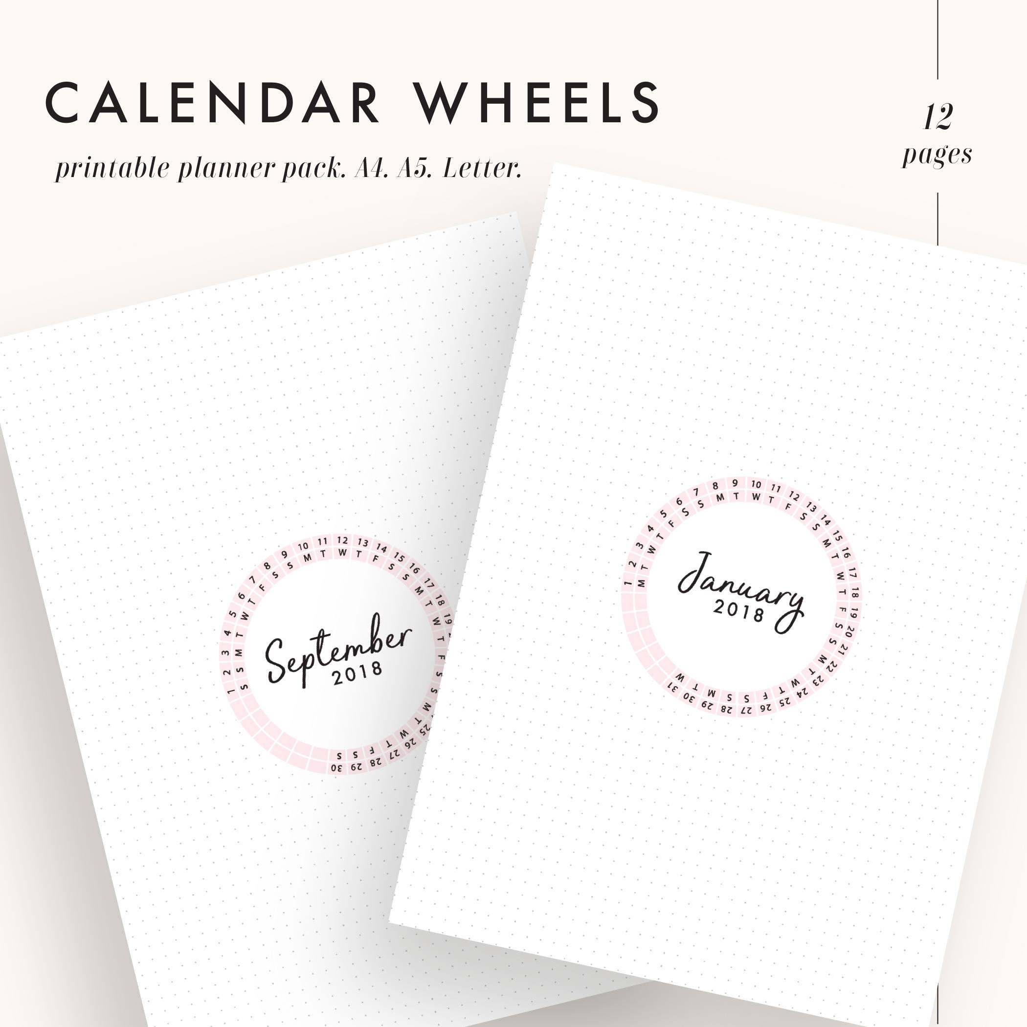 2018 Planner Inserts, 2018 Monthly Planner, 2018 Calendar Printable,  Calendar Wheel, 2018 Wall Calendar, Calendar Inserts, A4, A5, Letter with Calendar Wheel Printable