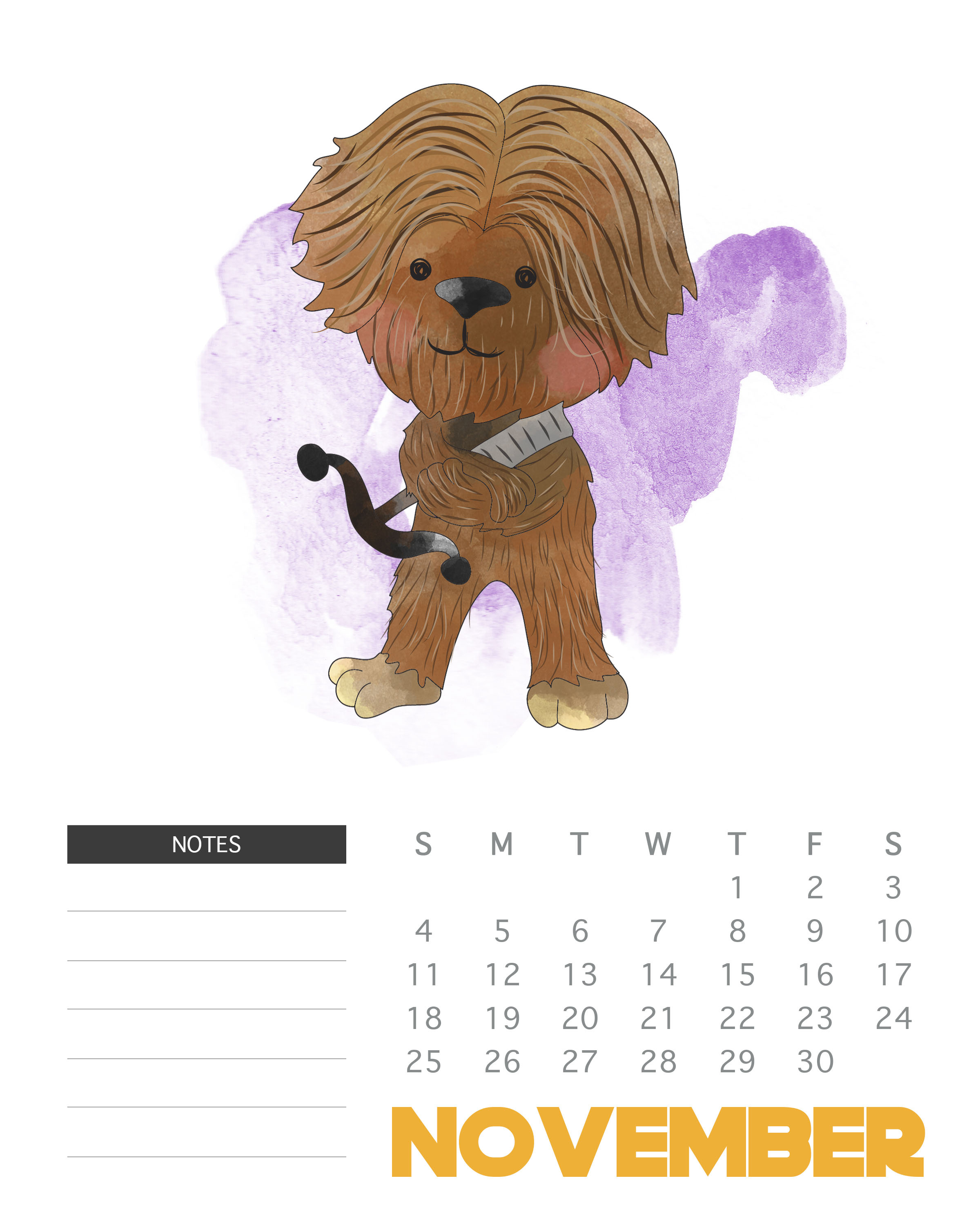 2018 Star Wars Monthly Calendar | Latest Calendar within Star Wars Calendar Printable