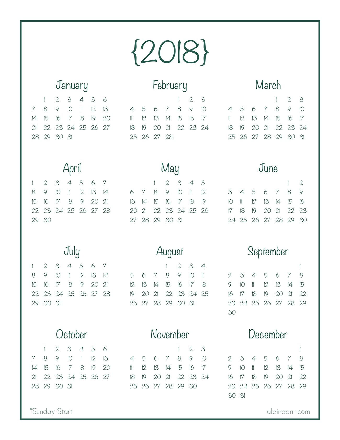 2018 Yearataglance Calendar {Free Printable} | Ідеї inside Year At A Glance Calendar Printable