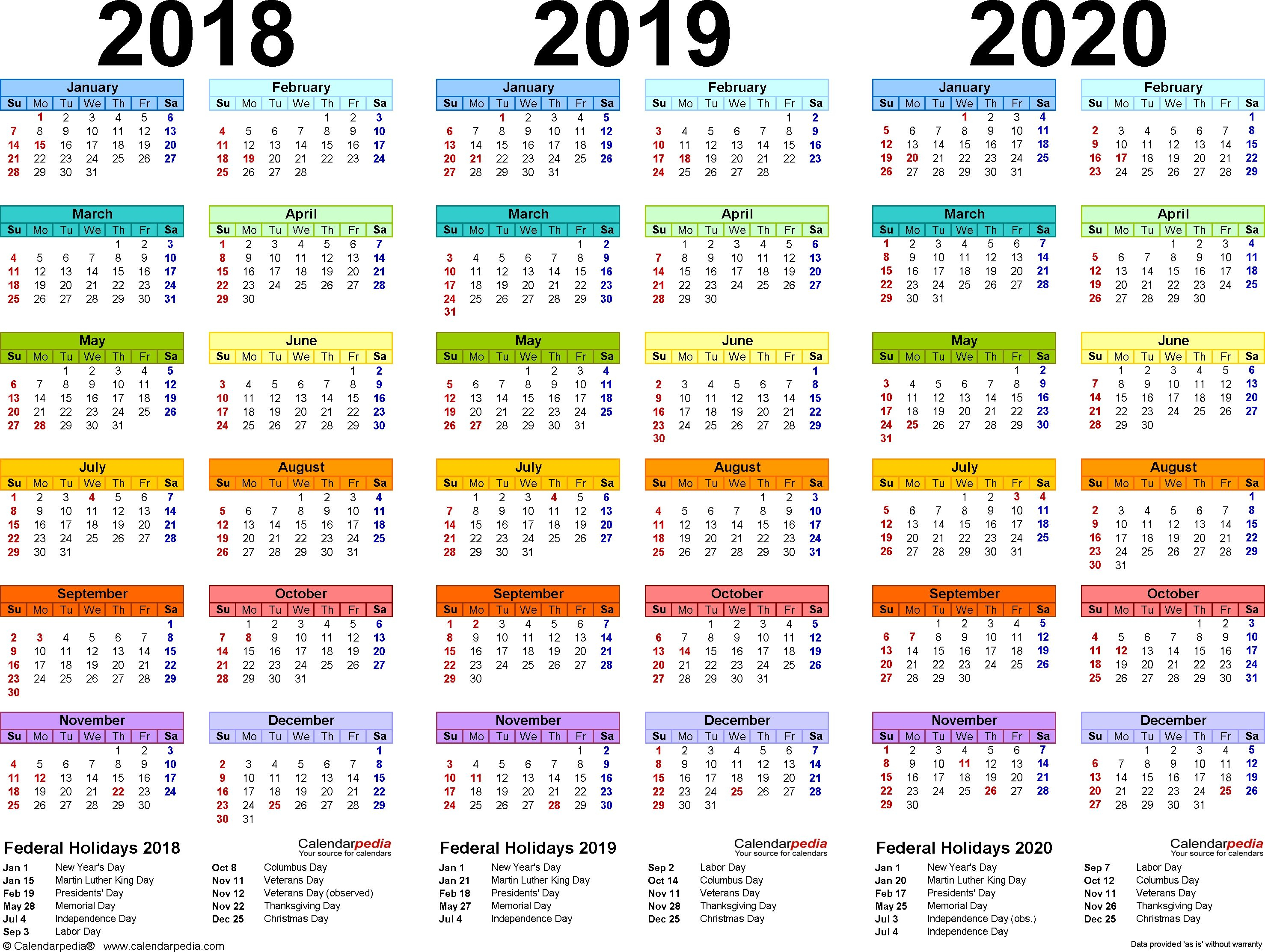 201820192020 Calendar  4 Threeyear Printable Pdf within Three Year Calendar Printable