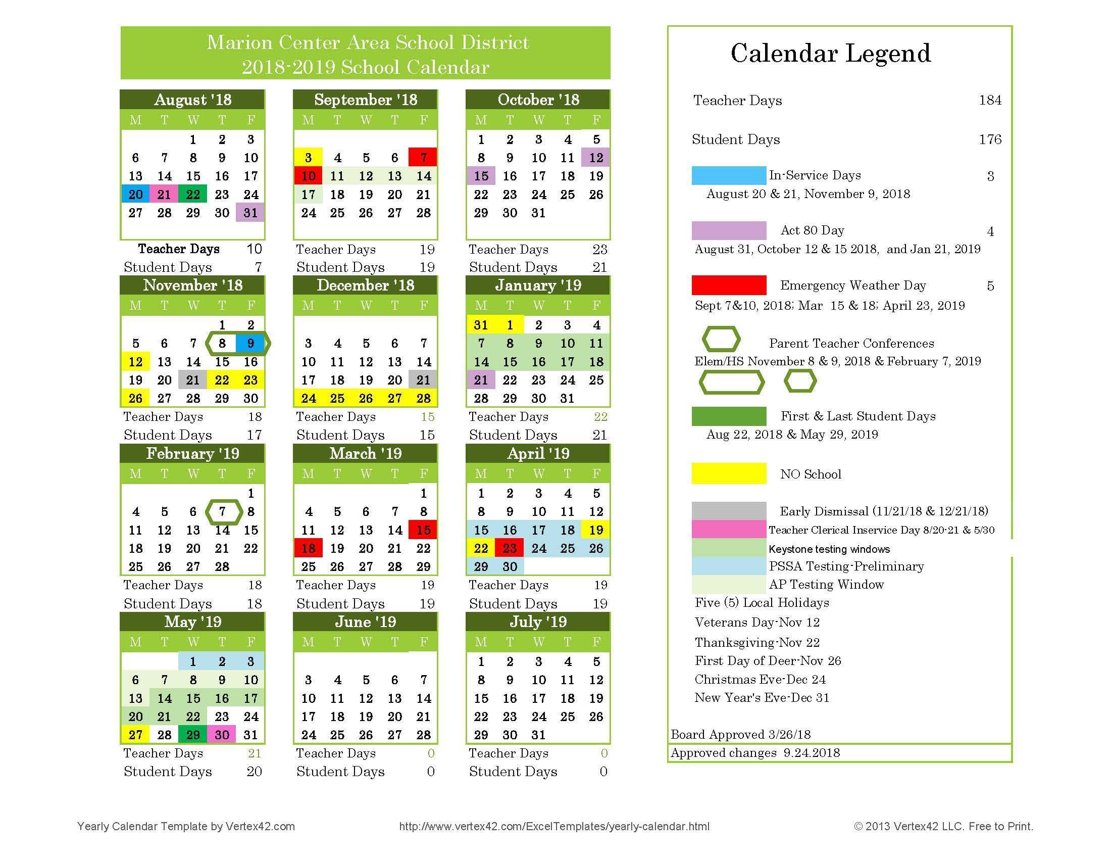 2019 18 Calendar  Yatay.horizonconsulting.co regarding Maharishi School Calendar