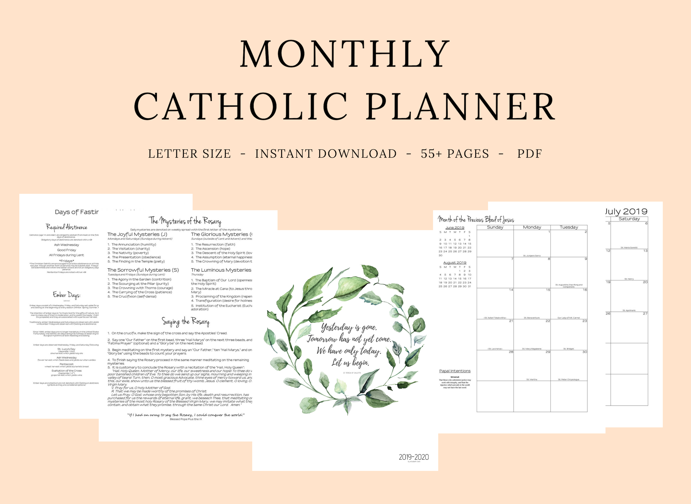2019 2020 Catholic Monthly Planner regarding Catholic Liturgical Calendar 2020 With Daily Readings