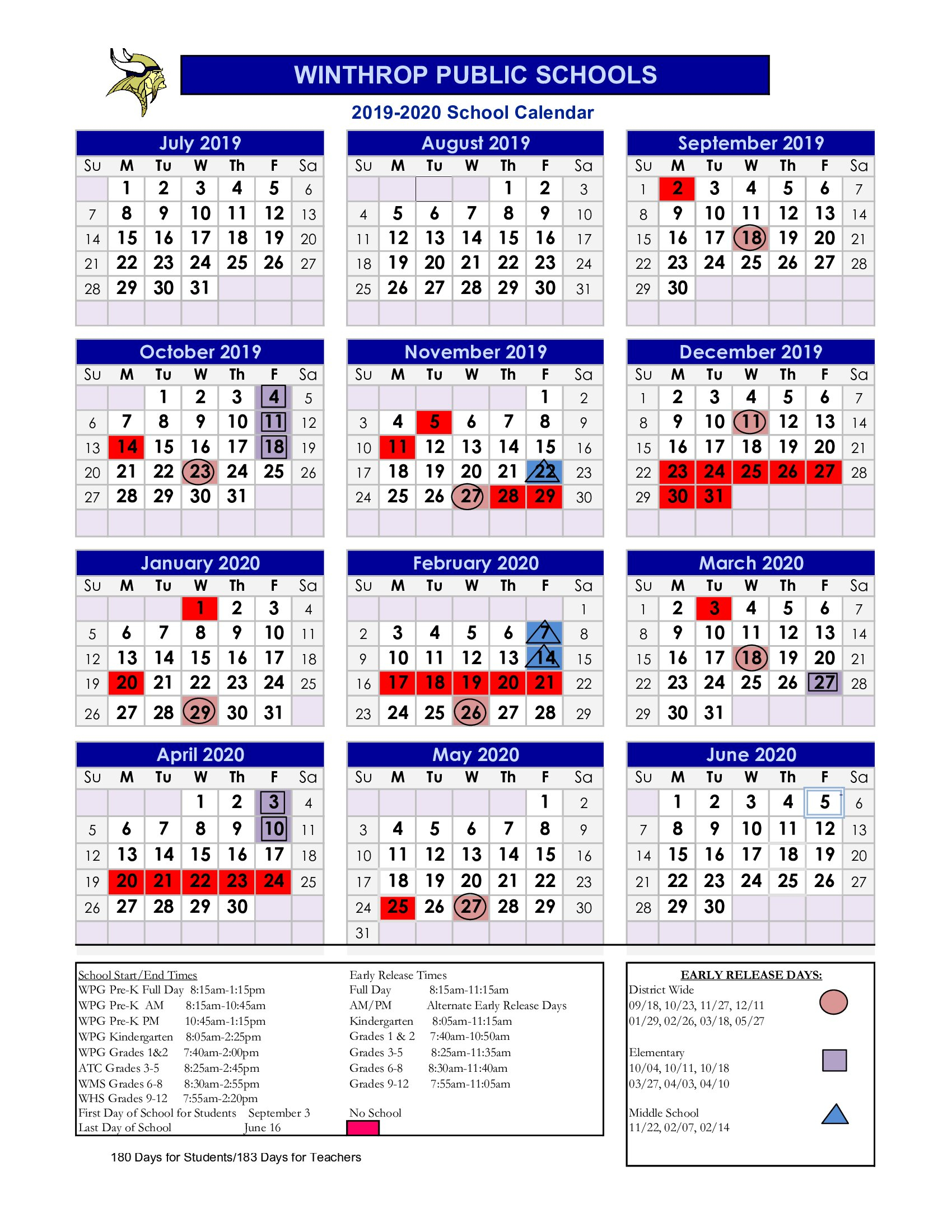 2019  2020 School Calendar  Calendario Calendário intended for 1993 Kannada Calendar