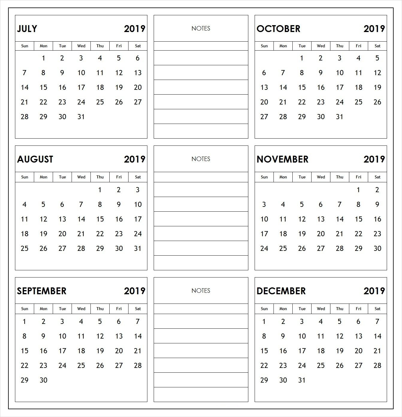 2019 6 Months Half Year Calendar Printable Download with 6 Month Calendar Printable