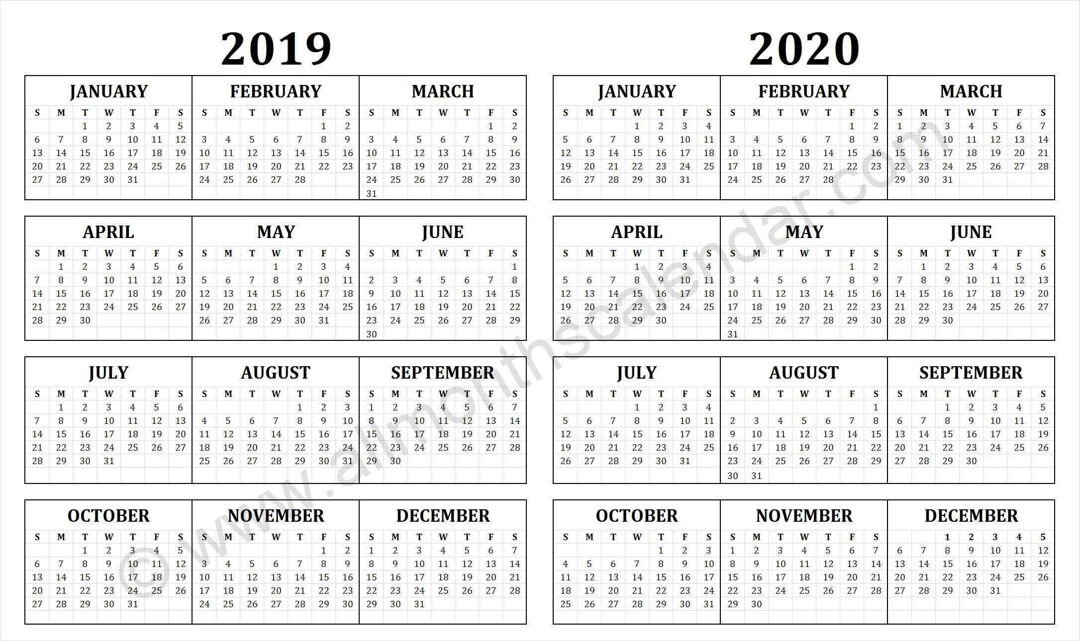 2019 And 2020 Calendar | Free Printable Calendar Templates intended for Quadax Julian Calendar 2020