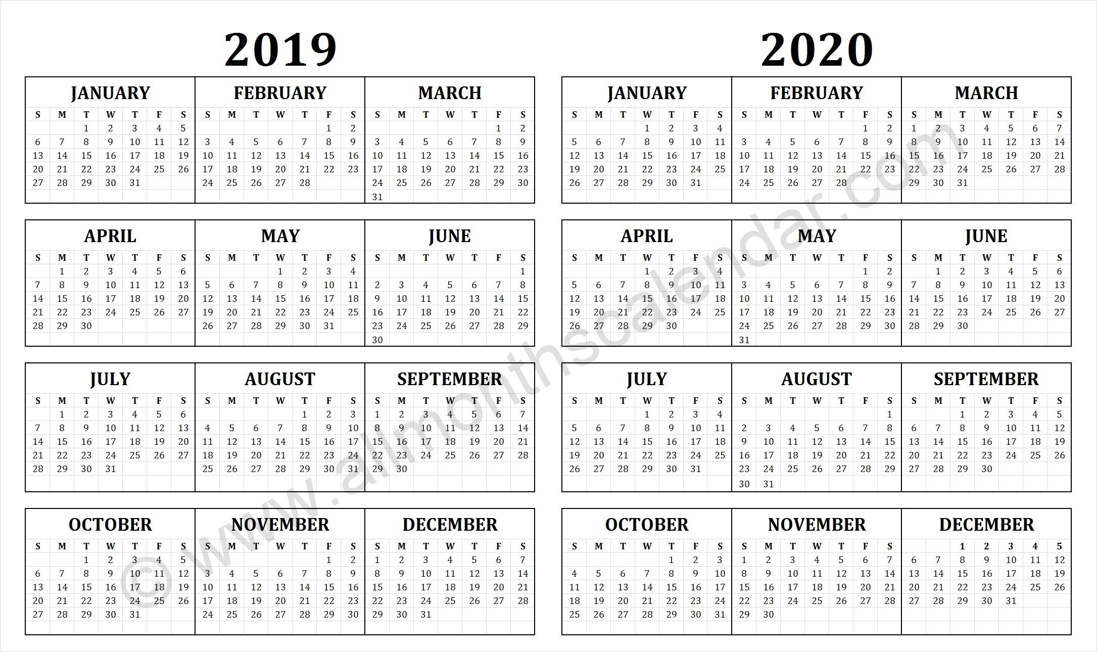 2019 And 2020 Calendar | Free Printable Calendar Templates intended for Quadax Julian Date Calendar 2020
