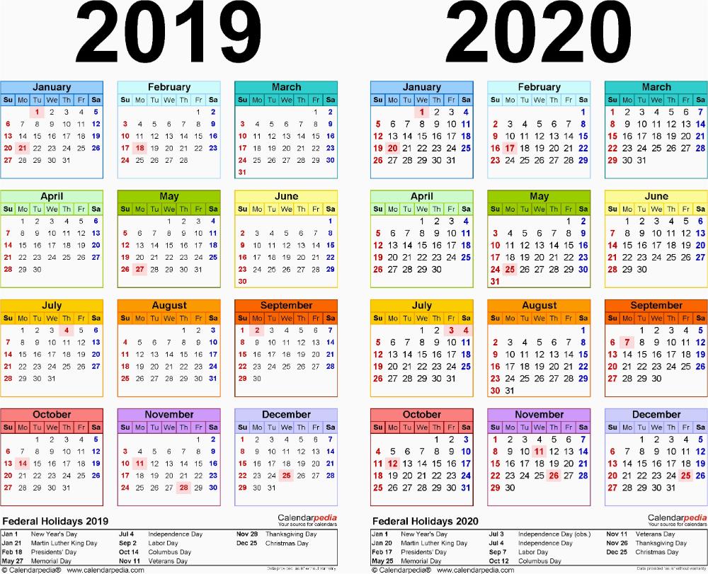 2019 Calendar 4 Months Per Page 2019 2020 Calendar Free intended for Calendar 4 Months Per Page
