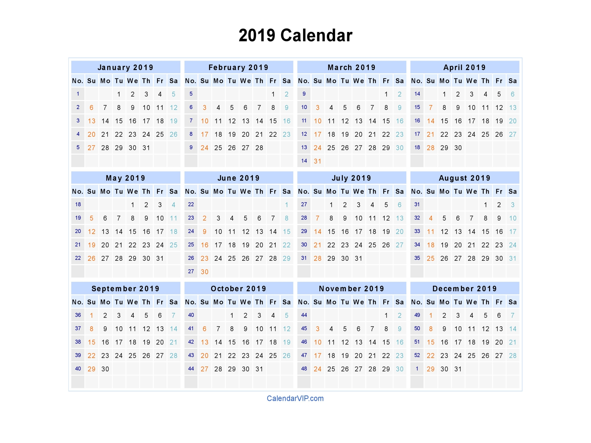 2019 Calendar – Calendar Yearly Printable intended for 2020 Calendar Hk Excel