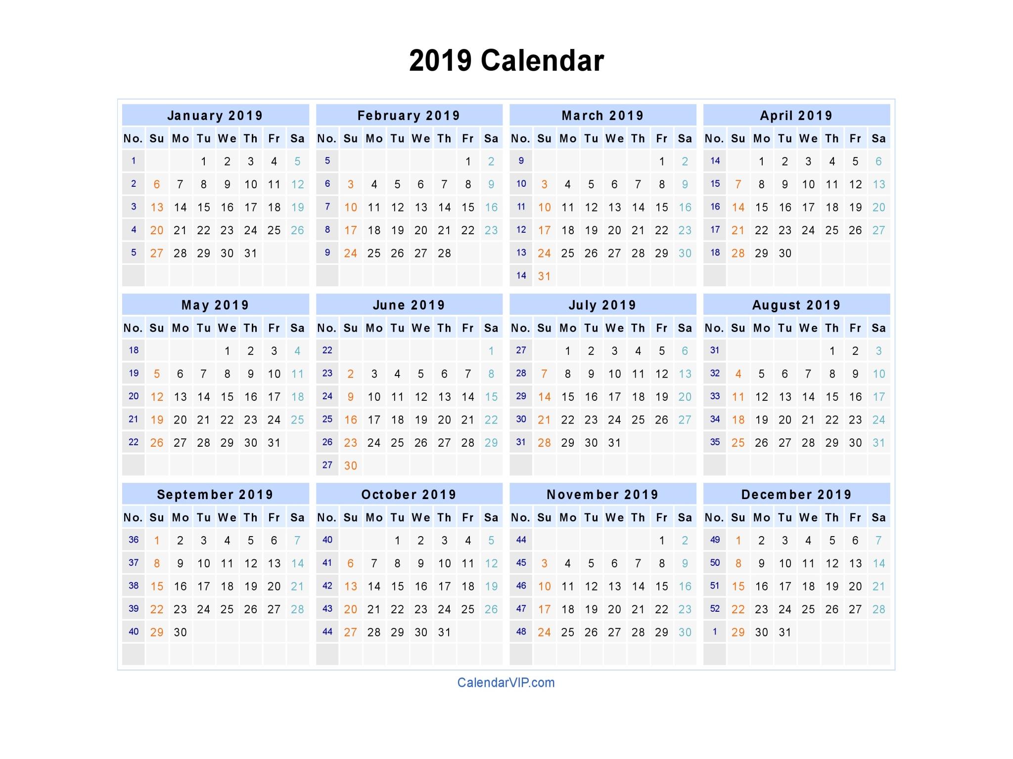 2019 Calendar – Calendar Yearly Printable intended for 2020 Calendar Hk Excel