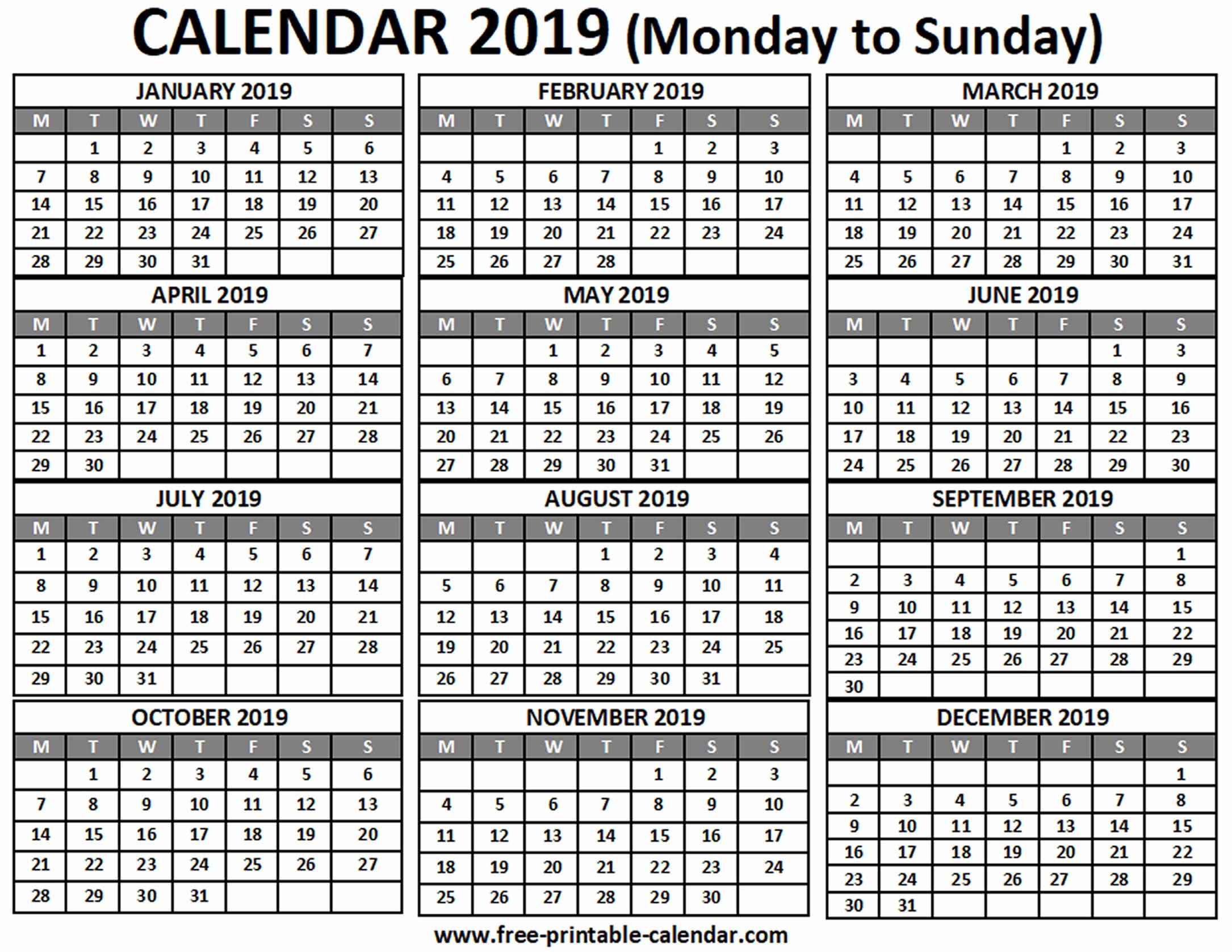 2019 Calendar  Freeprintablecalendar for Free Printable Pocket Calendar