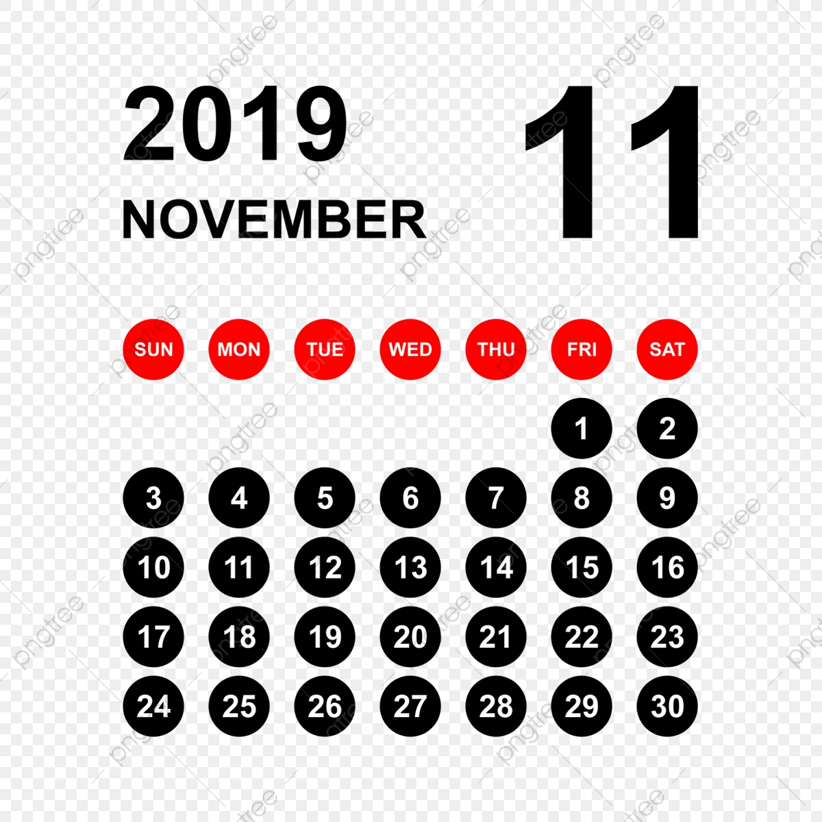 2019 Calendar November Calendar Calendar 2019 Calendar 2019 throughout November Calendar Clipart Free