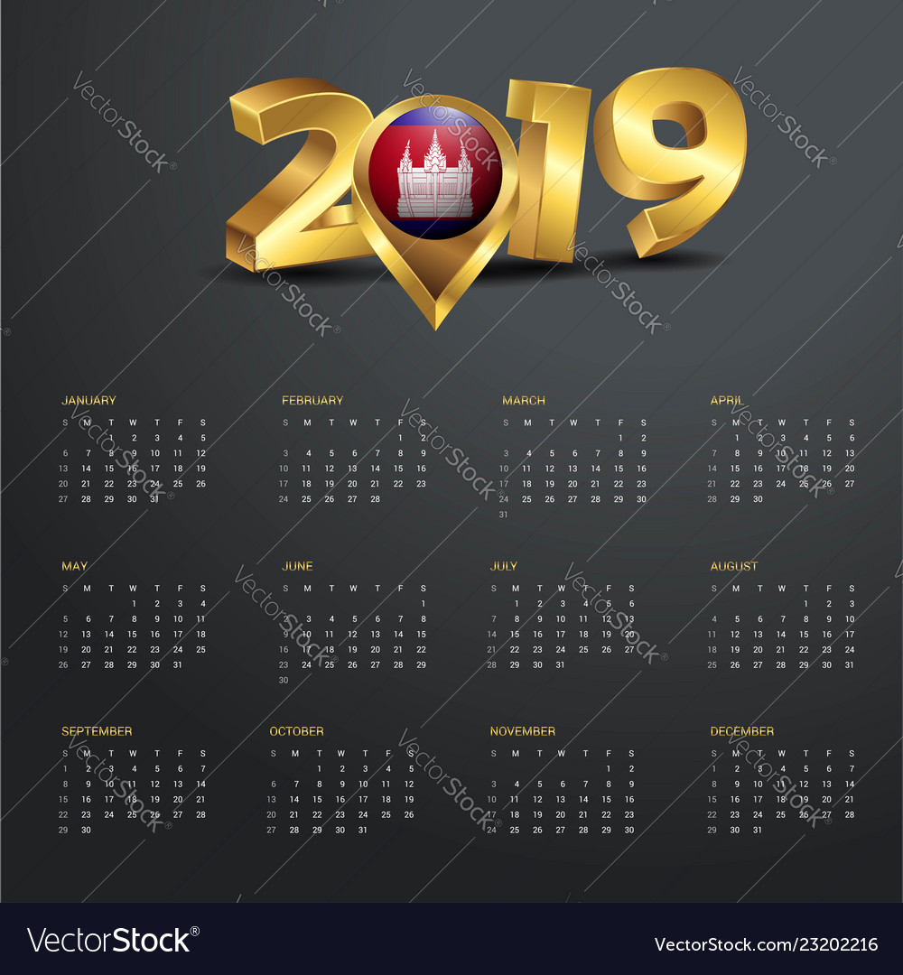 2019 Calendar Template Cambodia Country Map for Khmer Calendar November 2020