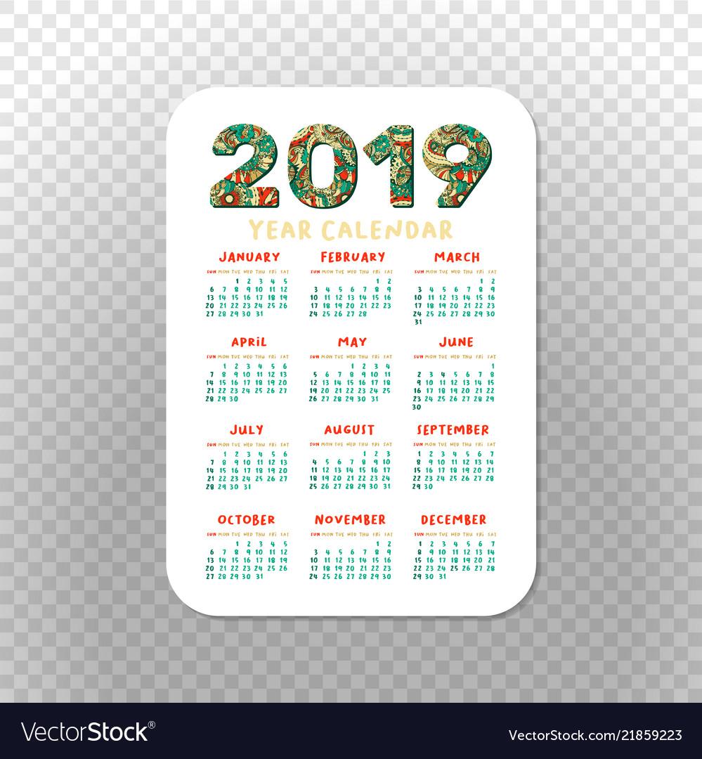 2019 Calendar Template For Pocket Calendar Basic for Free Printable Pocket Calendar