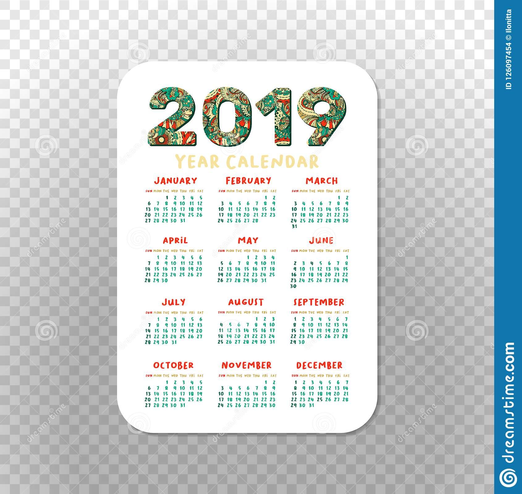 2019 Calendar Template For Pocket Calendar, Basic Grid throughout Printable 2020 Wallet Calendar