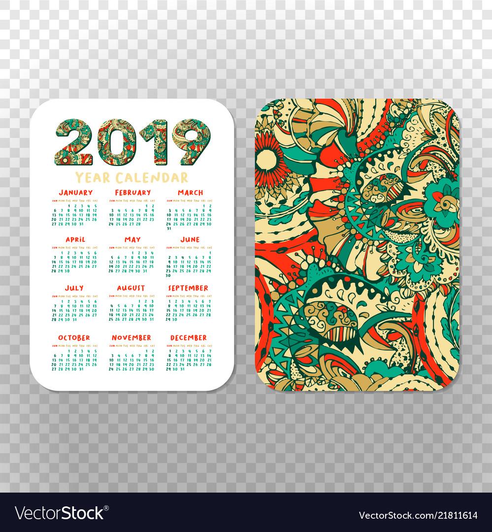 2019 Calendar Template For Pocket Calendar Basic in Free Printable Pocket Calendar