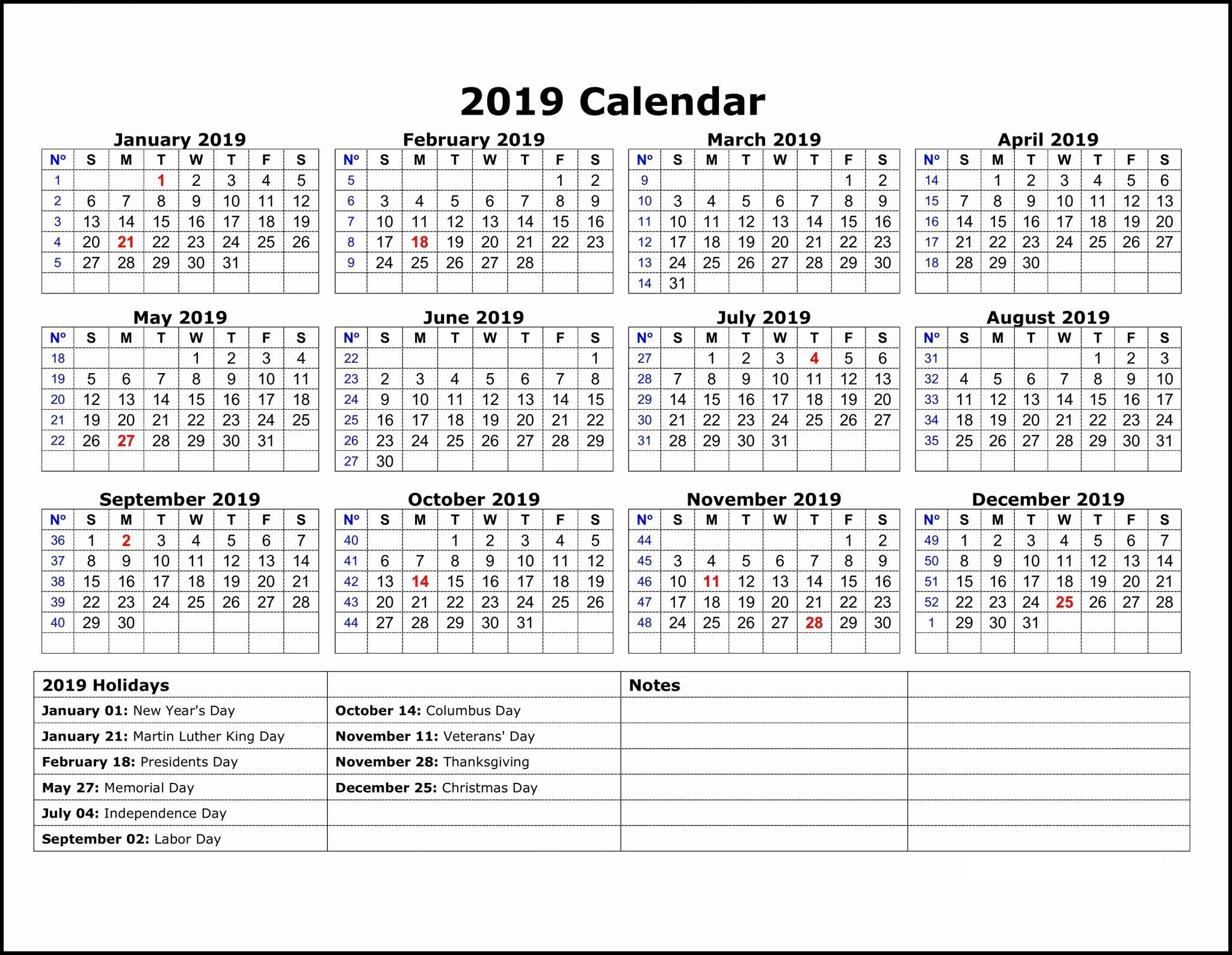 2019 Calendar Template One Page | Printable Calendar throughout Printable 12 Month Calendar On One Page