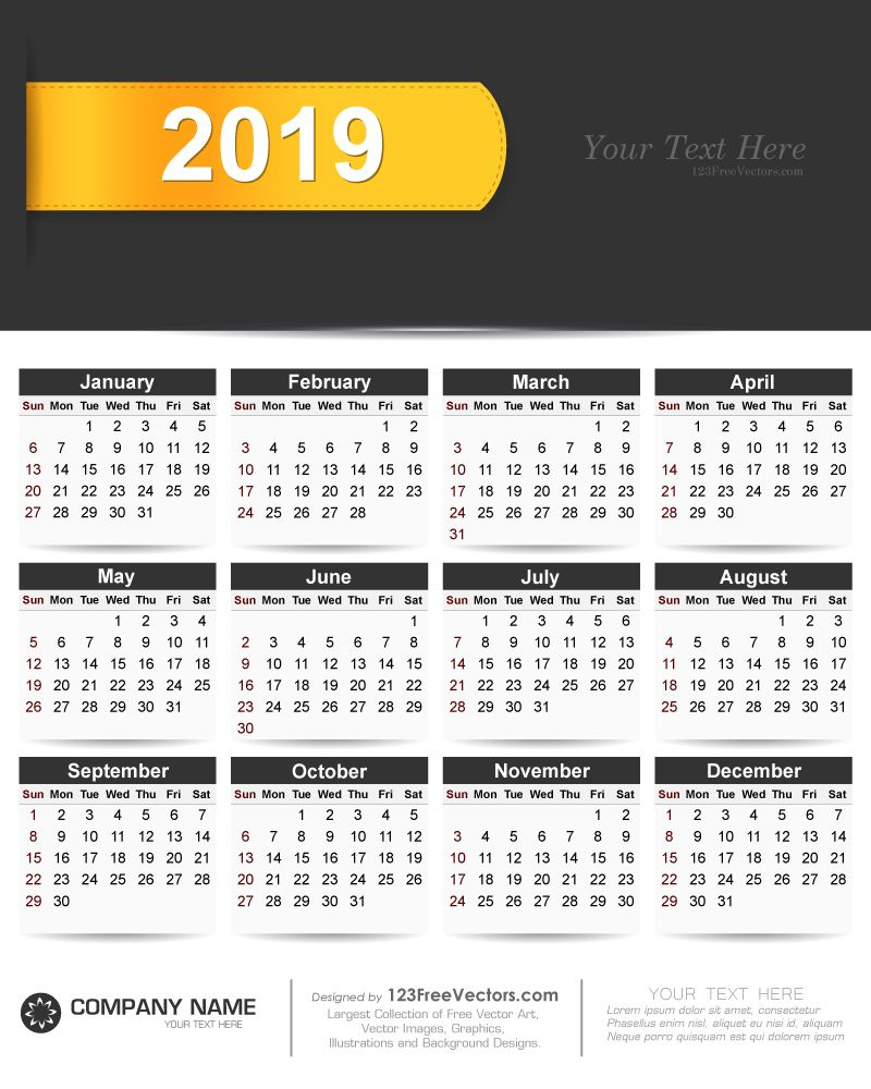 2019 Calendar Vector Free Download | Vector Free, Vector inside 2020 Calendar Vector Free