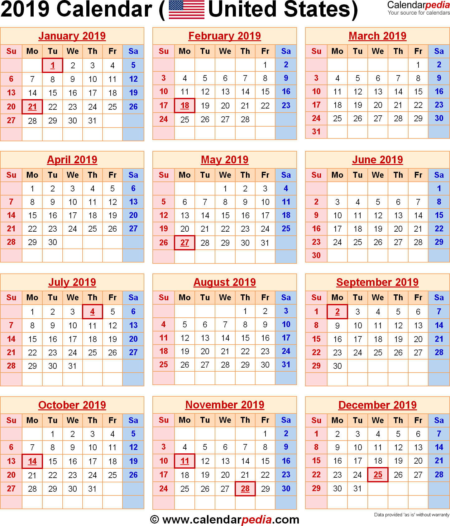 2019 Calendar With Federal Holidays within Bihar Sarkar Calendar 2017